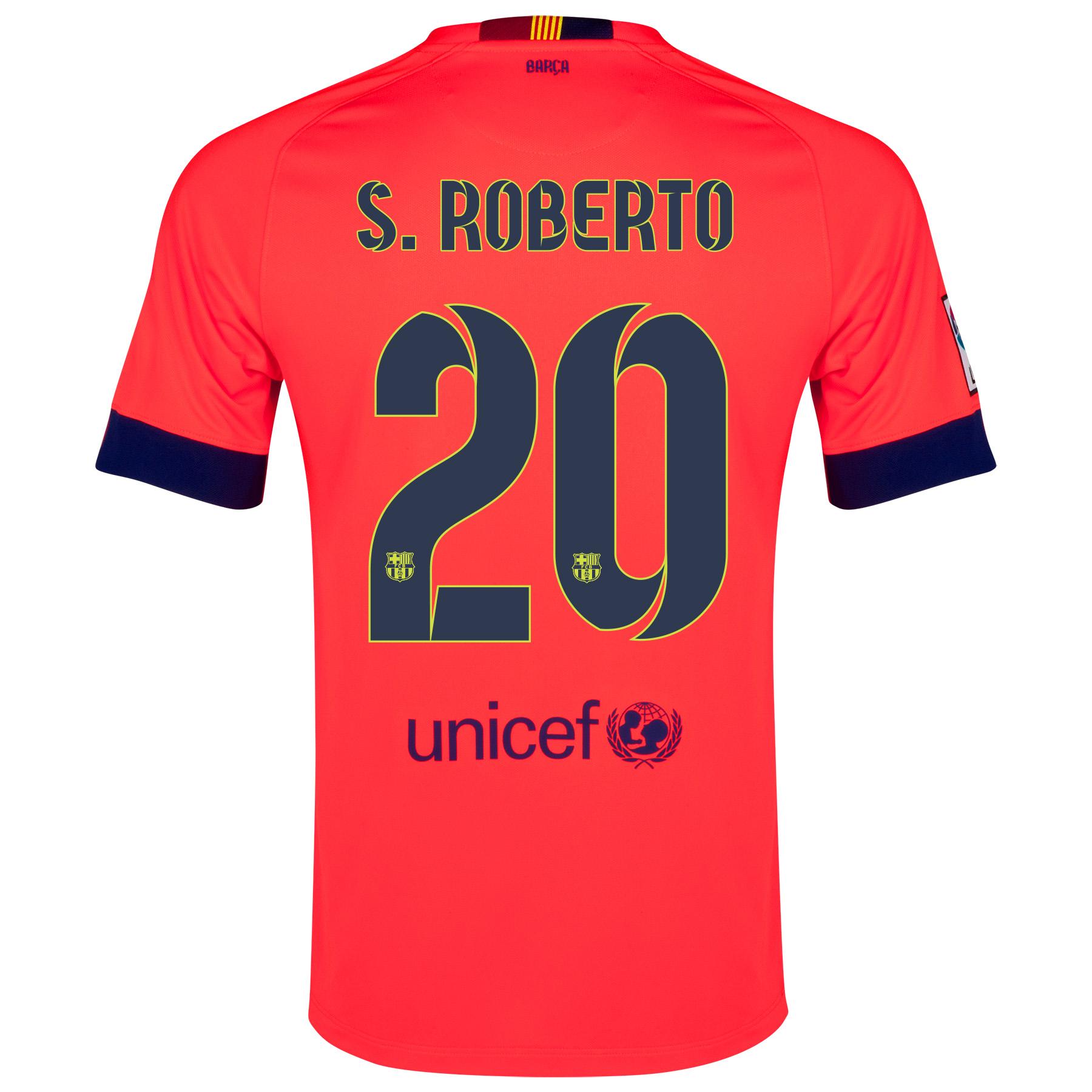 Barcelona Away Shirt 2014/15 - Kids Red with S.Roberto 20 printing