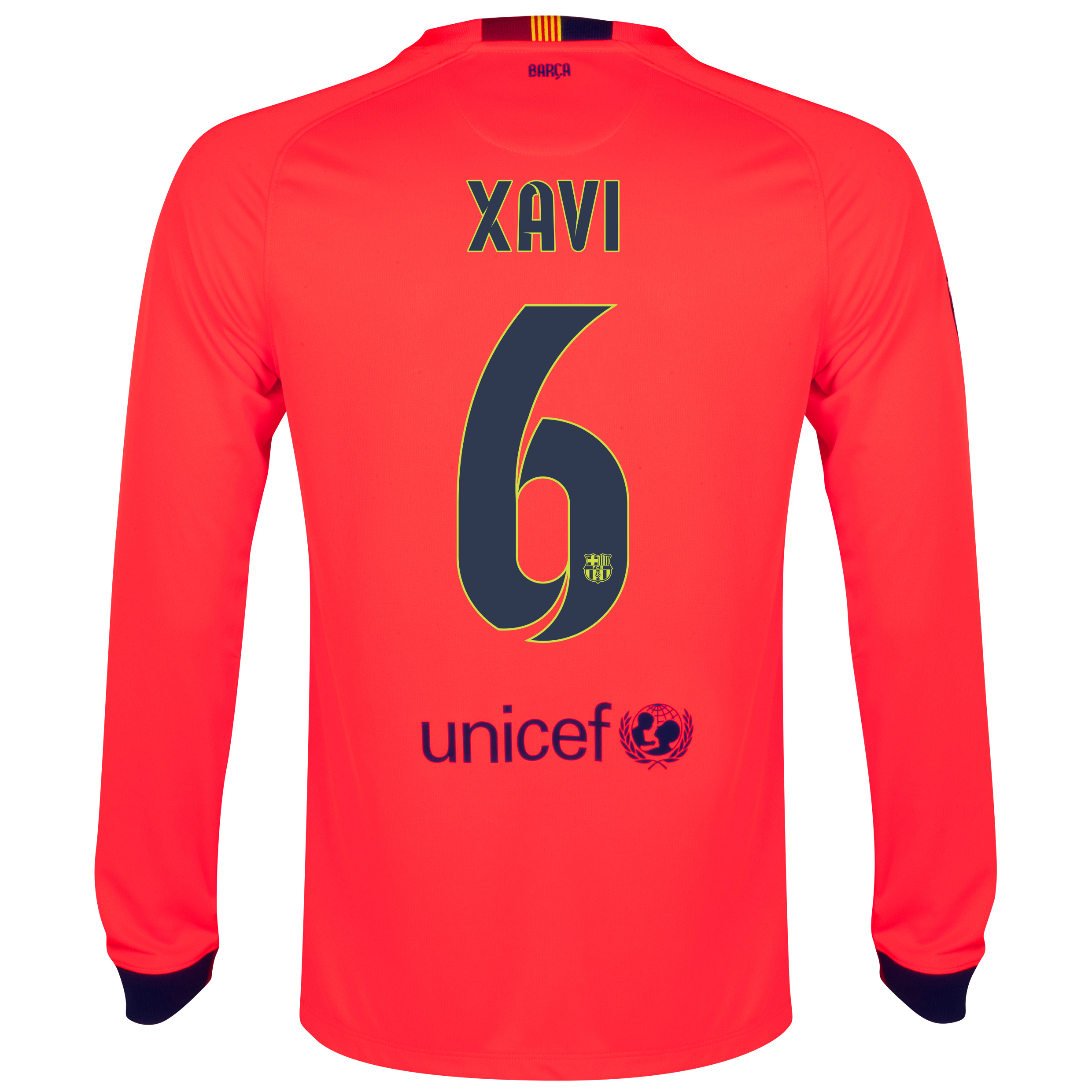 Barcelona Away Shirt 2014/15 - Long Sleeve Red with Xavi 6 printing