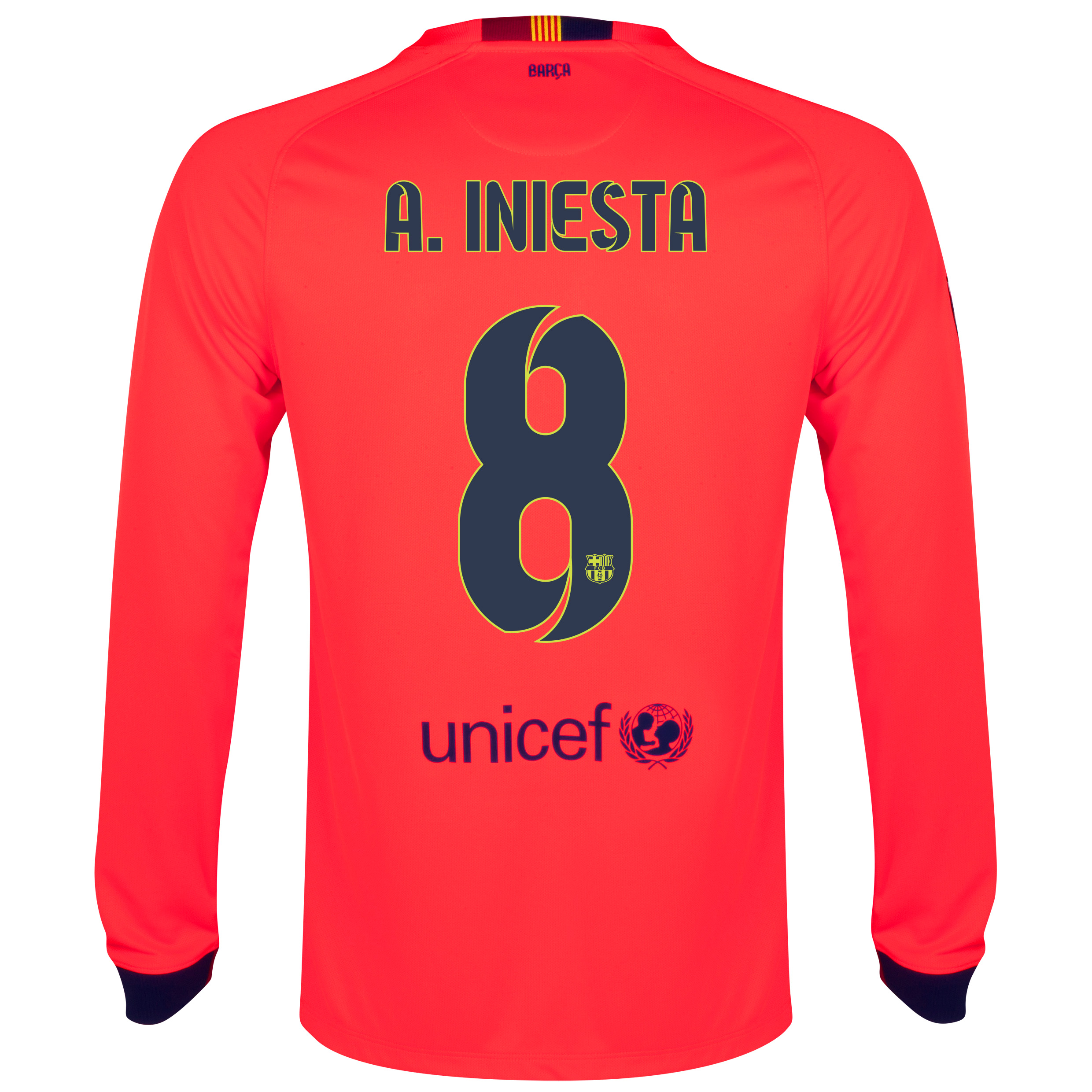Barcelona Away Shirt 2014/15 - Long Sleeve Red with A. Iniesta  8 printing