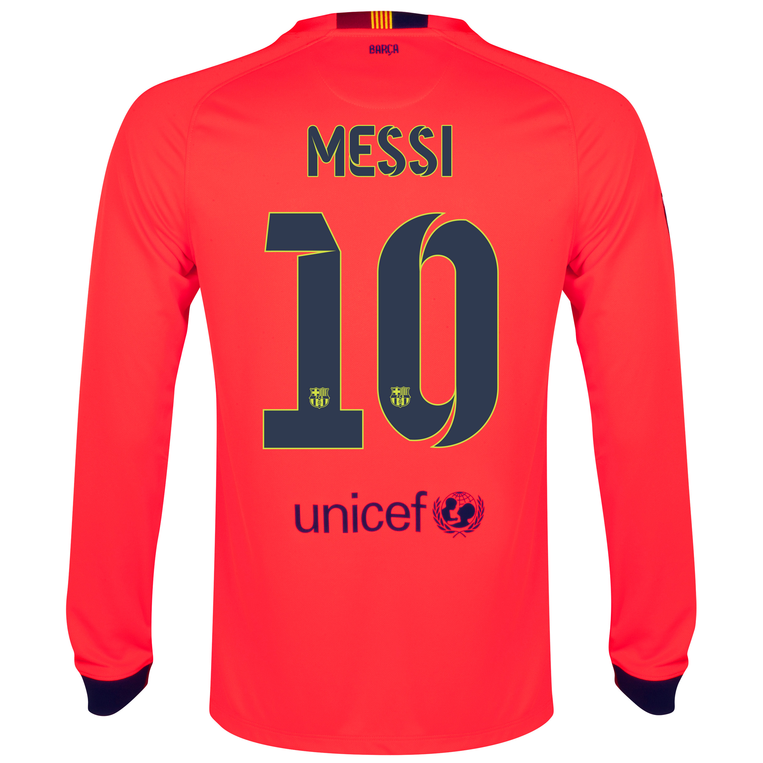 Barcelona Away Shirt 2014/15 - Long Sleeve Red with Messi 10 printing