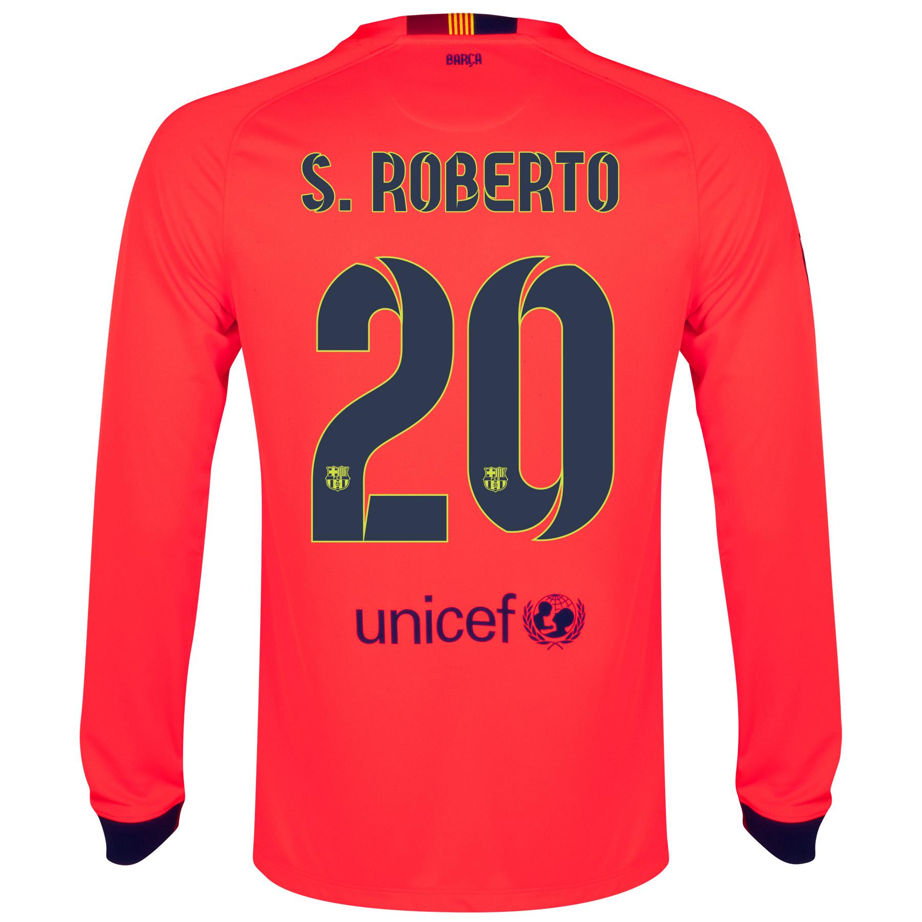 Barcelona Away Shirt 2014/15 - Long Sleeve Red with S.Roberto 20 printing