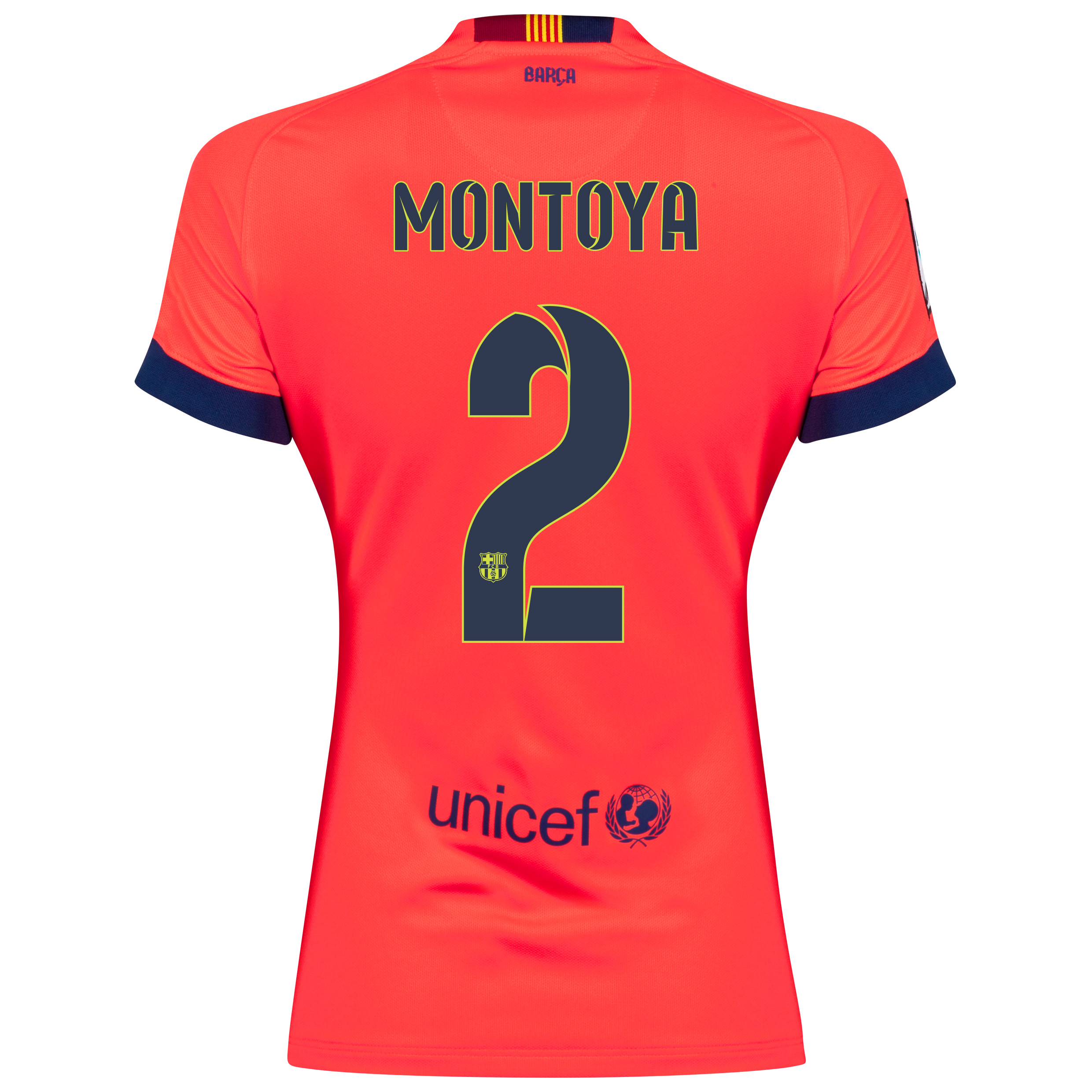 Barcelona Away Shirt 2014/15 - Womens Red with Montoya 2 printing