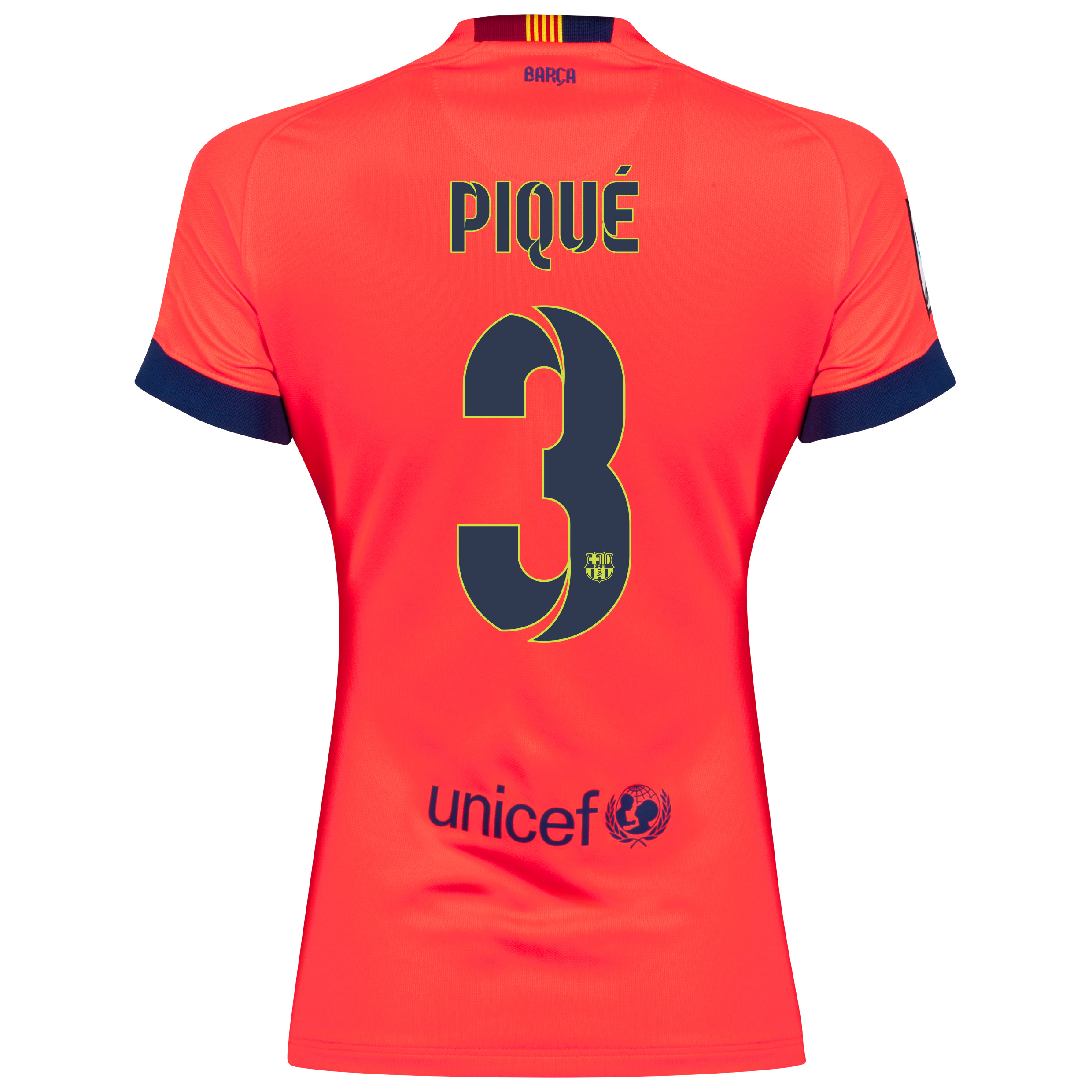 Barcelona Away Shirt 2014/15 - Womens Red with Pique 3 printing