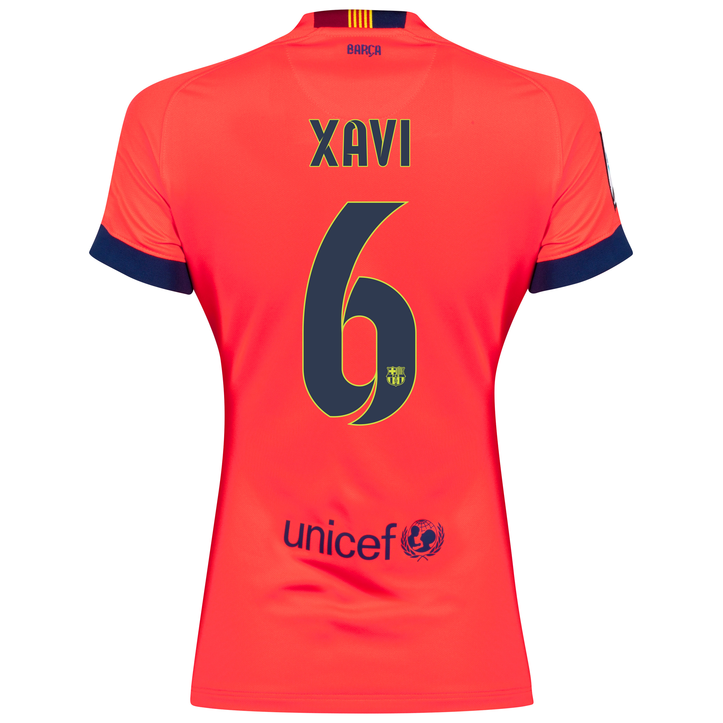 Barcelona Away Shirt 2014/15 - Womens Red with Xavi 6 printing
