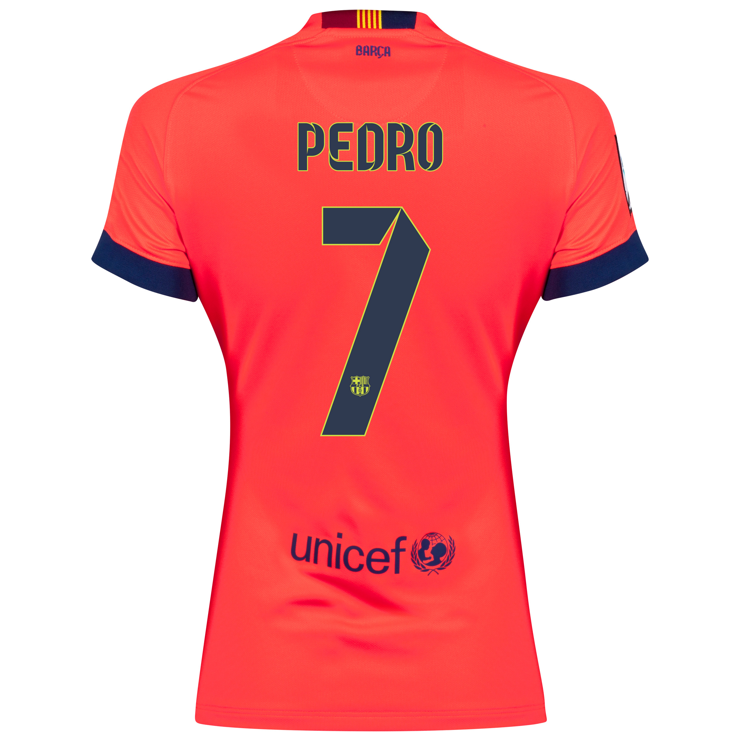 Barcelona Away Shirt 2014/15 - Womens Red with Pedro 7 printing