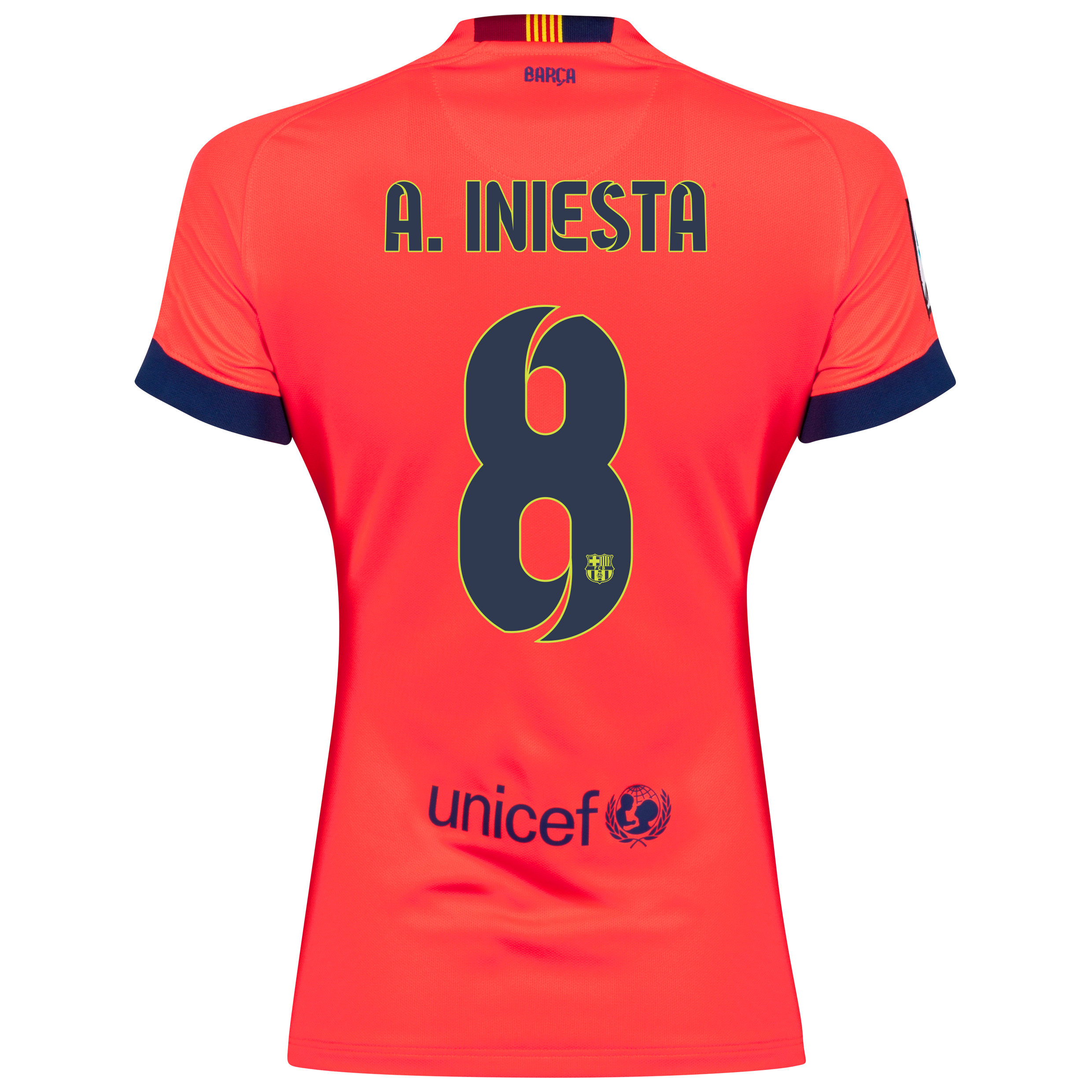 Barcelona Away Shirt 2014/15 - Womens Red with A. Iniesta  8 printing