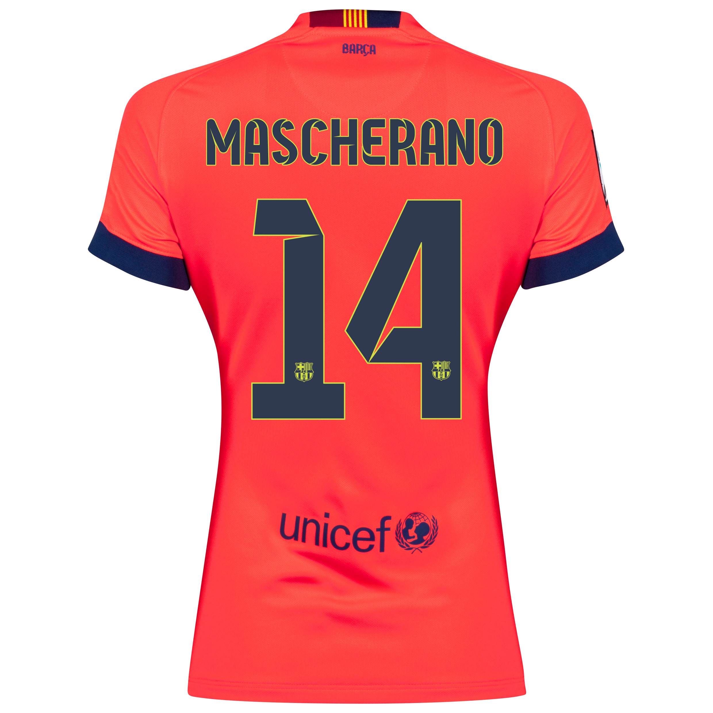 Barcelona Away Shirt 2014/15 - Womens Red with Mascherano 14 printing