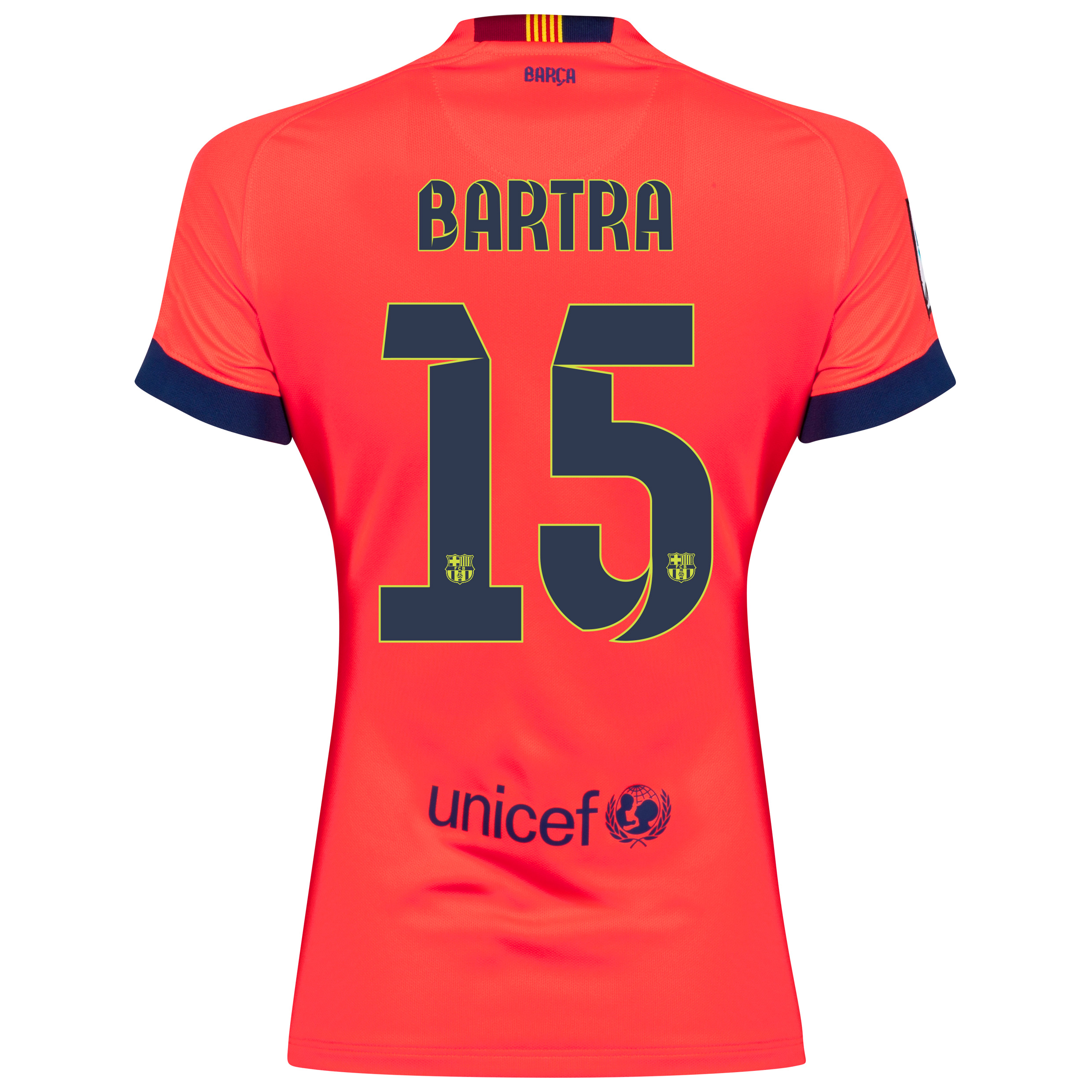 Barcelona Away Shirt 2014/15 - Womens Red with Bartra 15 printing