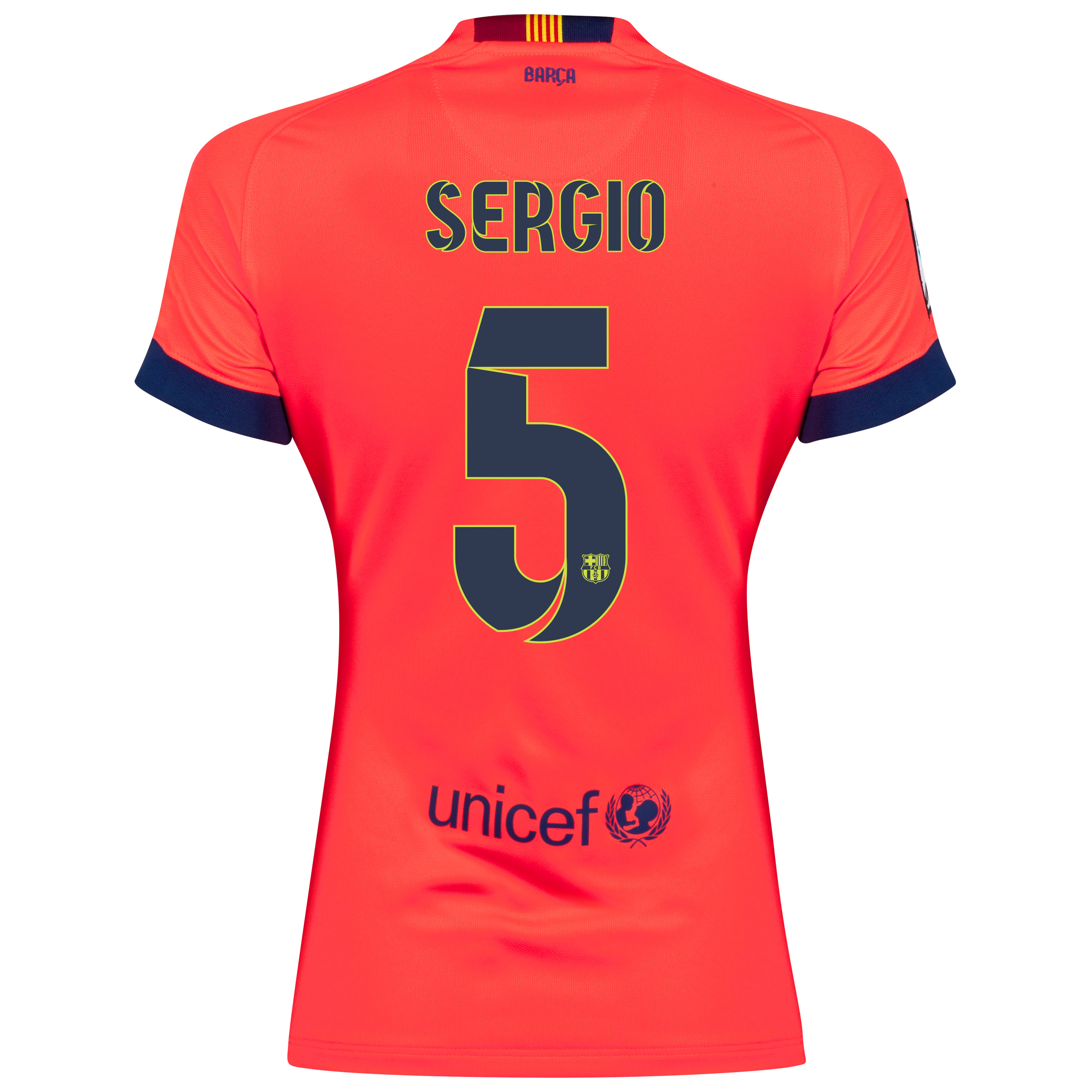 Barcelona Away Shirt 2014/15 - Womens Red with Sergio 5 printing