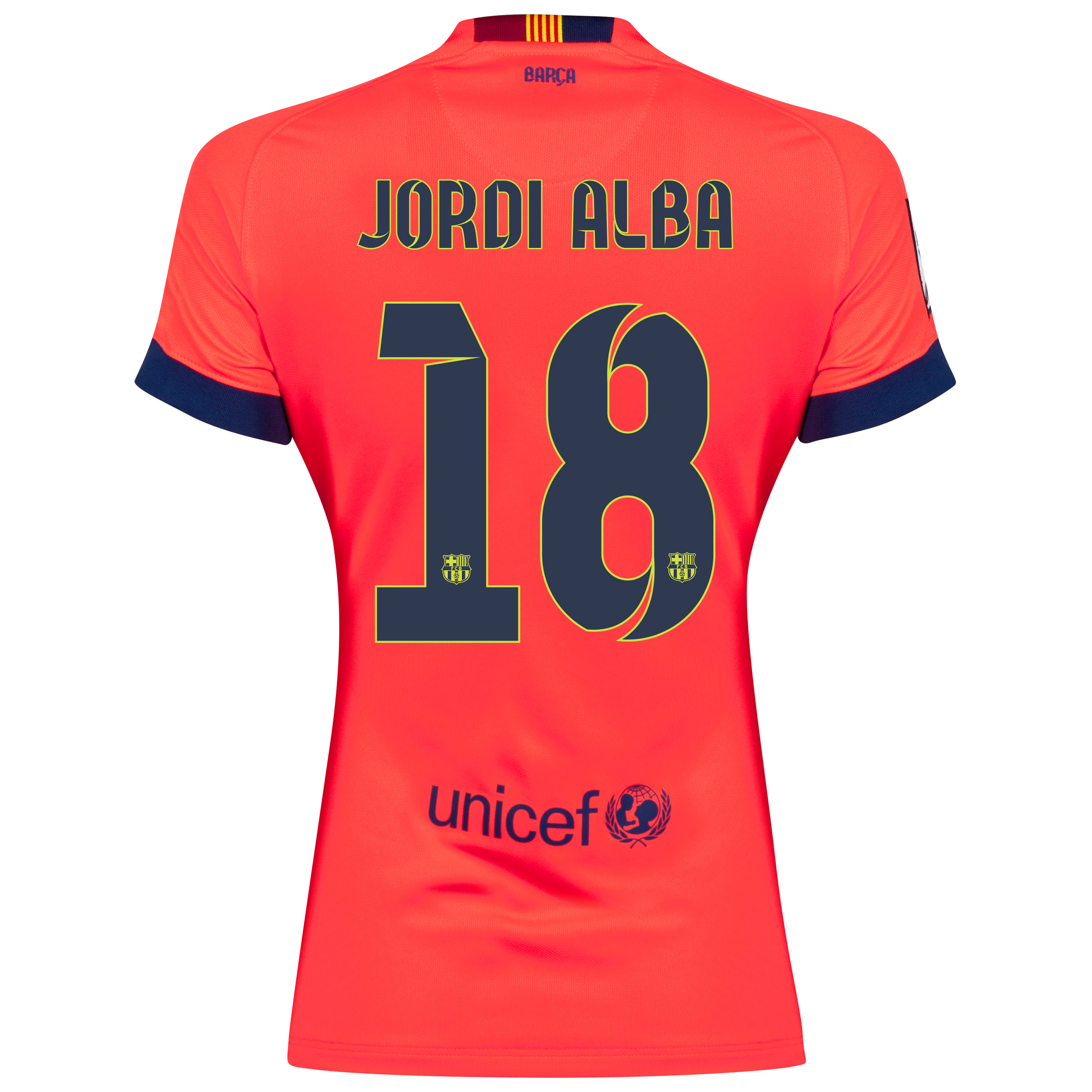 Barcelona Away Shirt 2014/15 - Womens Red with Jordi Alba 18 printing