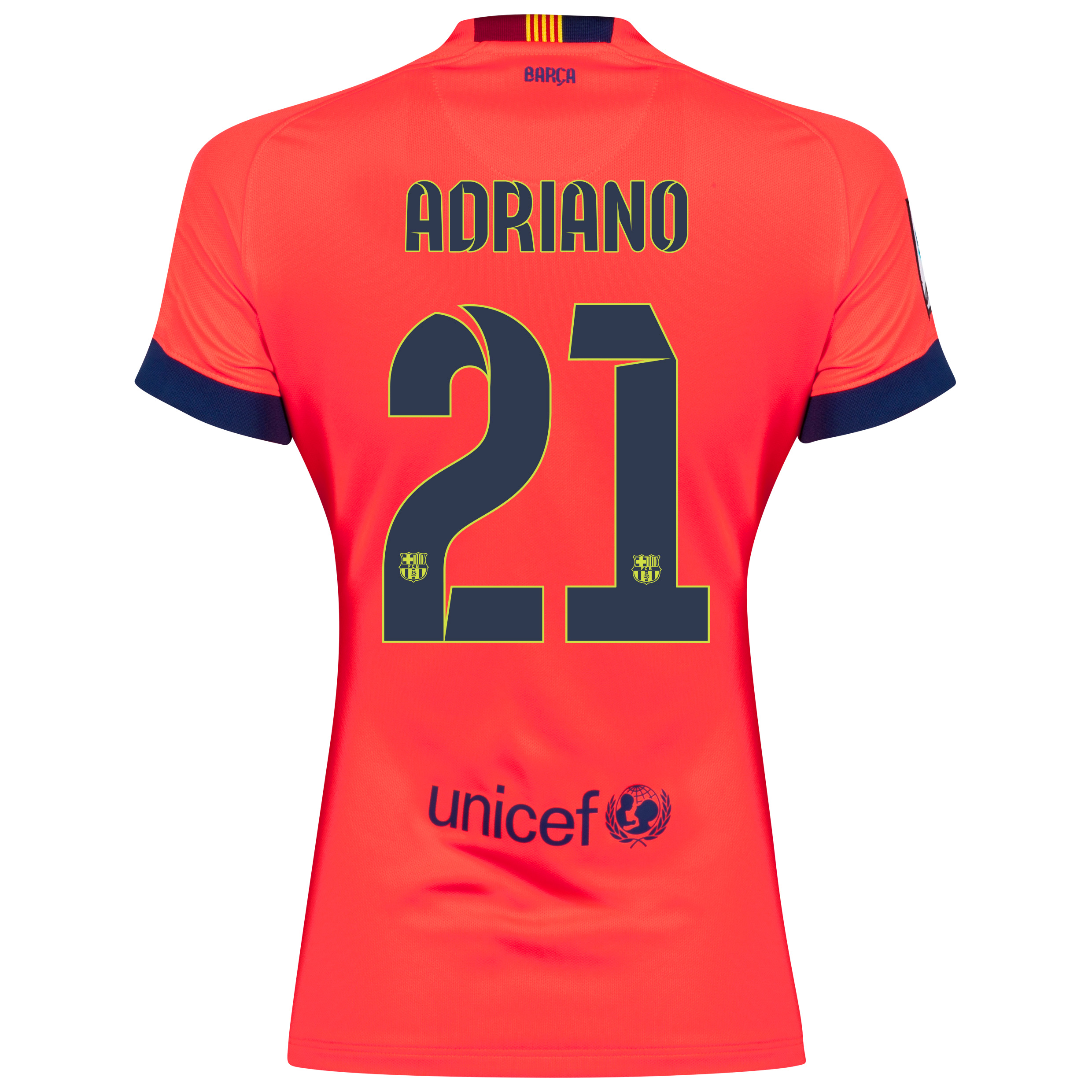 Barcelona Away Shirt 2014/15 - Womens Red with Adriano 21 printing