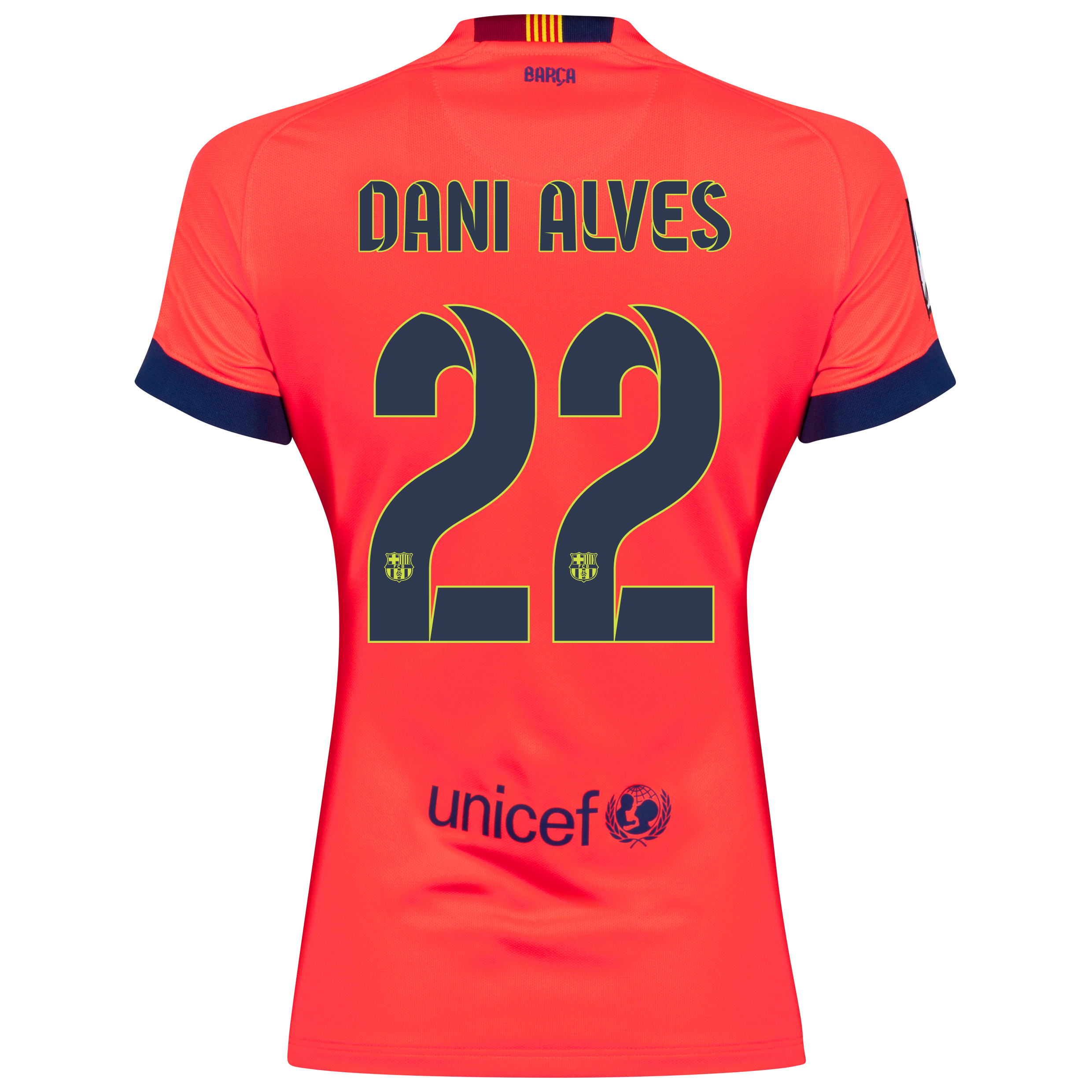 Barcelona Away Shirt 2014/15 - Womens Red with Dani Alves 22 printing