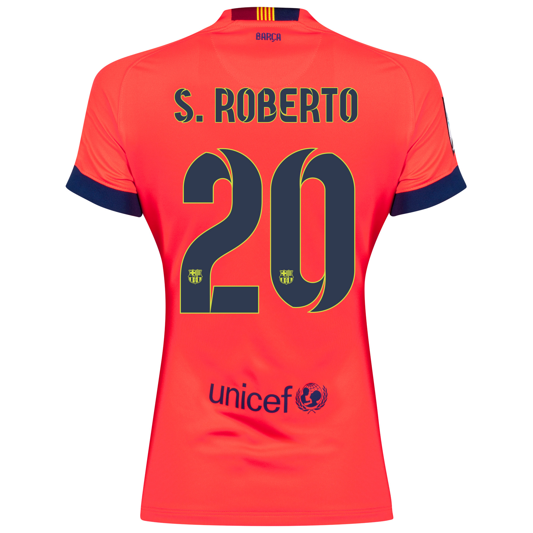 Barcelona Away Shirt 2014/15 - Womens Red with S.Roberto 20 printing