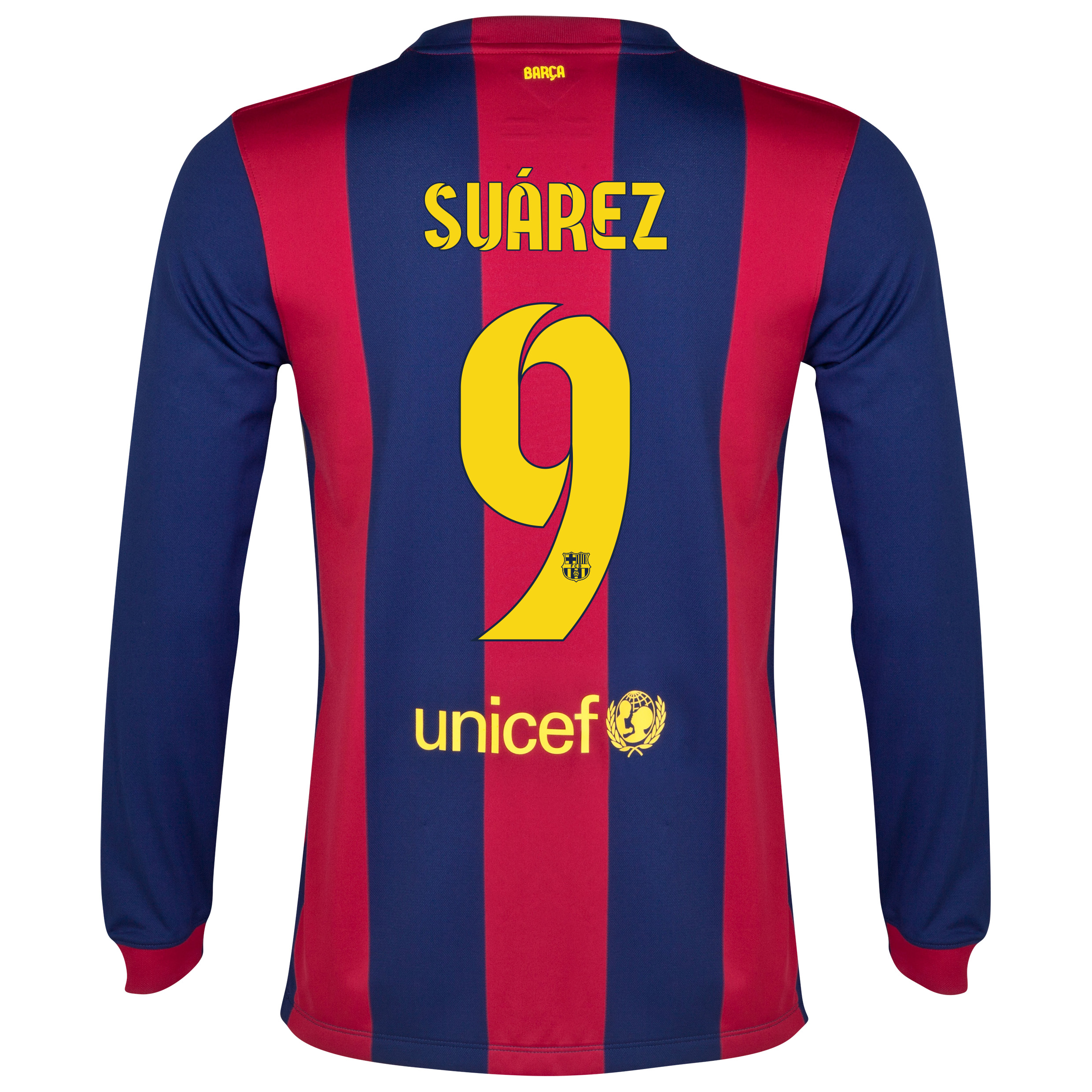 Barcelona Home Shirt 2014/15 - Long Sleeve Blue with Suárez 9 printing