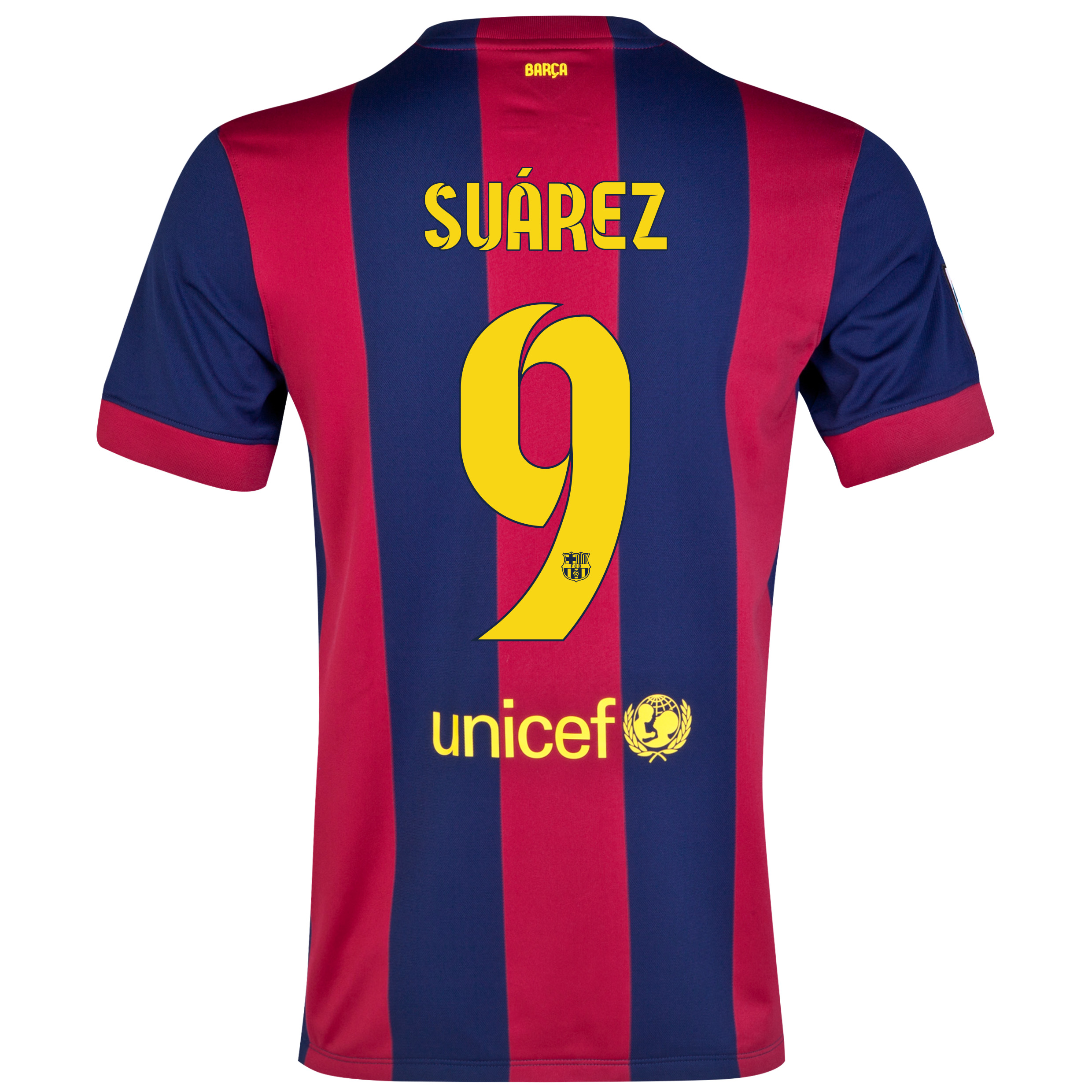 Barcelona Home Shirt 2014/15 - Kids Blue with Suárez 9 printing