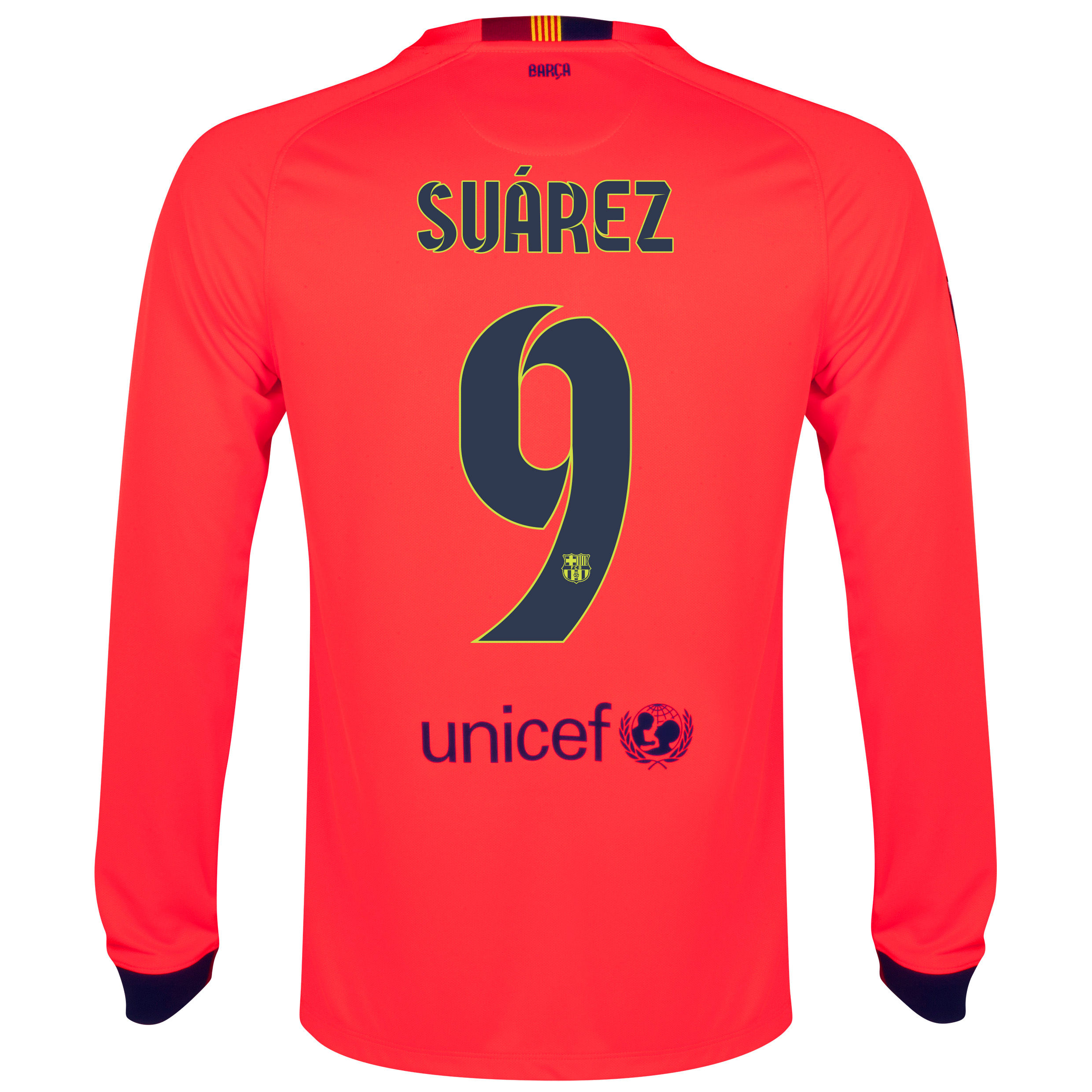 Barcelona Away Shirt 2014/15 - Long Sleeve Red with Suárez 9 printing