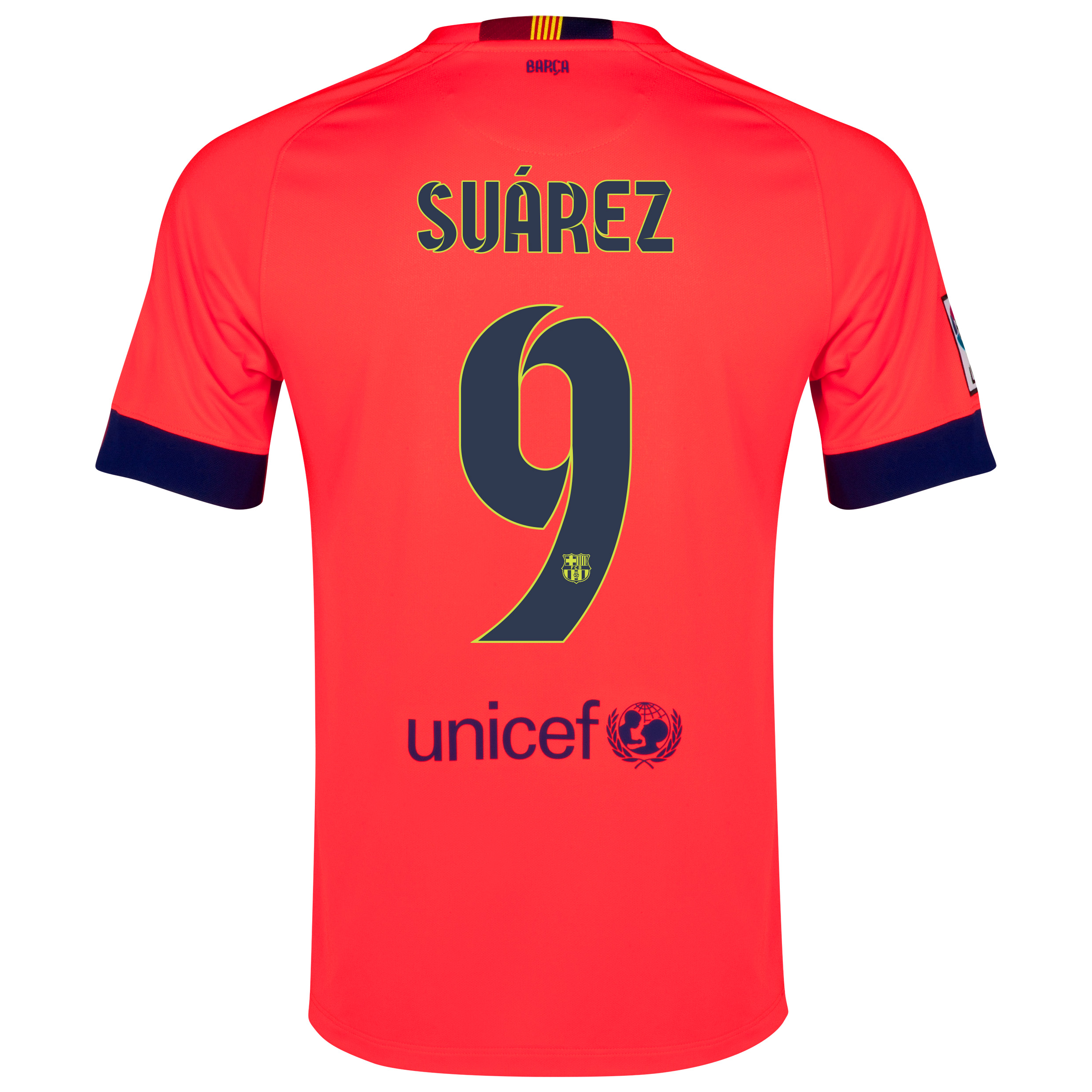 Barcelona Away Shirt 2014/15 - Kids Red with Suárez 9 printing