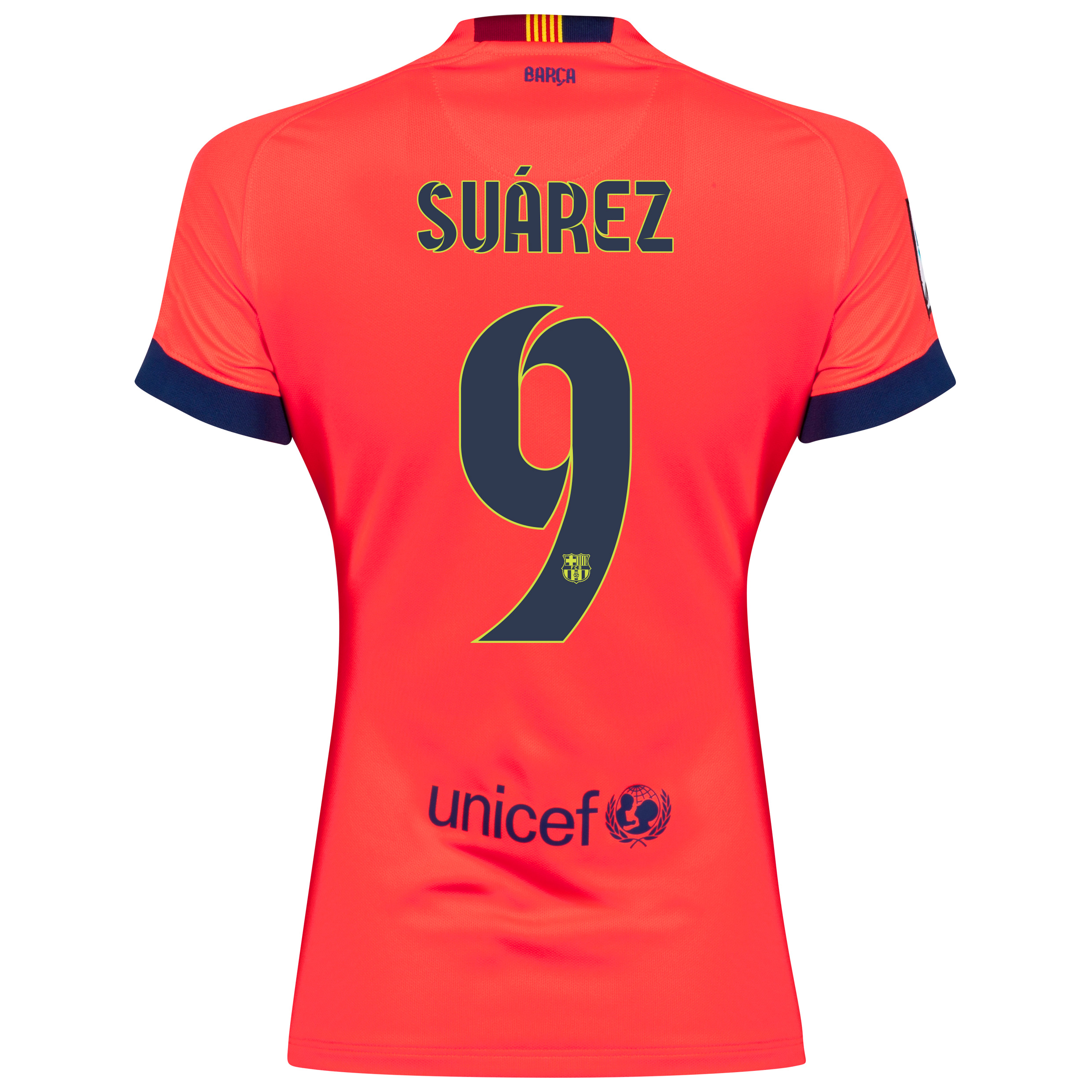 Barcelona Away Shirt 2014/15 - Womens Red with Suárez 9 printing