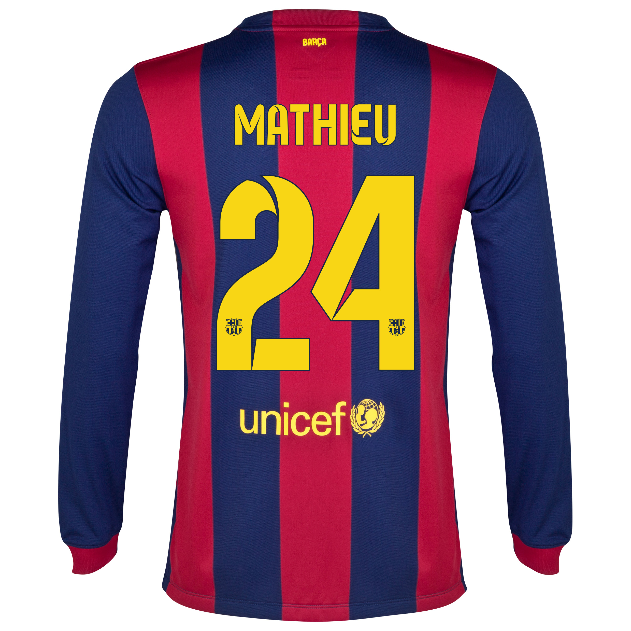 Barcelona Home Shirt 2014/15 - Long Sleeve Blue with Mathieu 24 printing