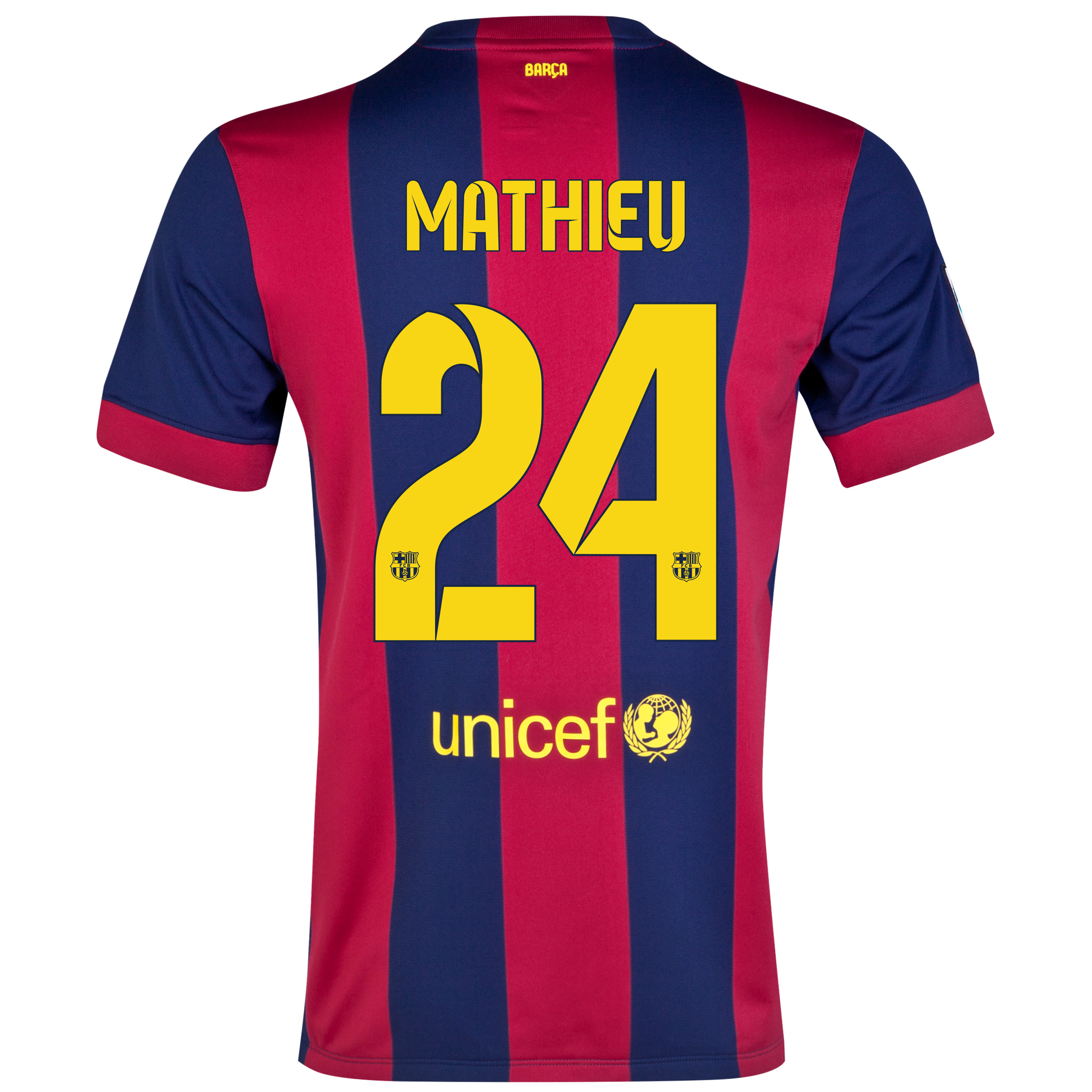 Barcelona Home Shirt 2014/15 - Kids Blue with Mathieu 24 printing