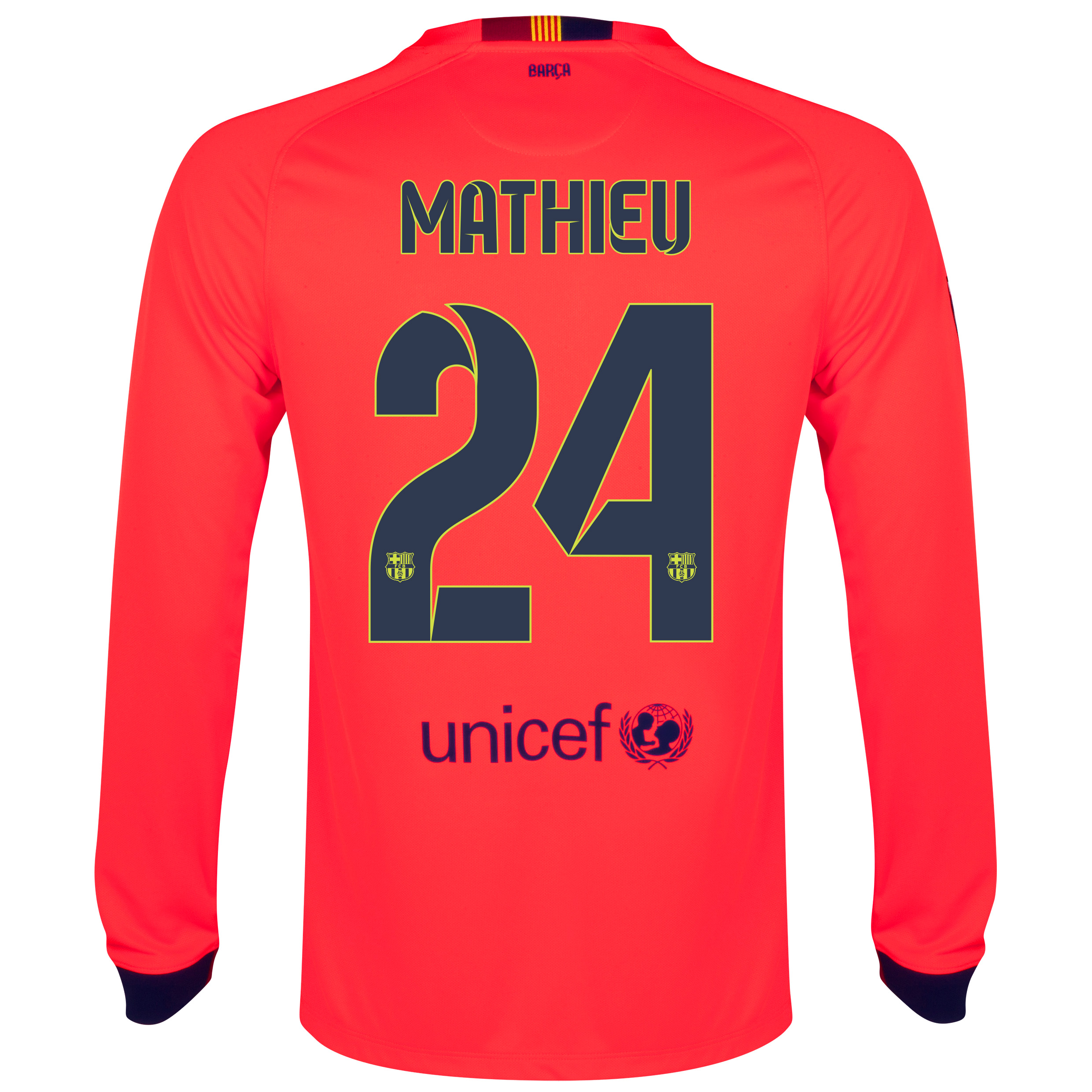 Barcelona Away Shirt 2014/15 - Long Sleeve Red with Mathieu 24 printing
