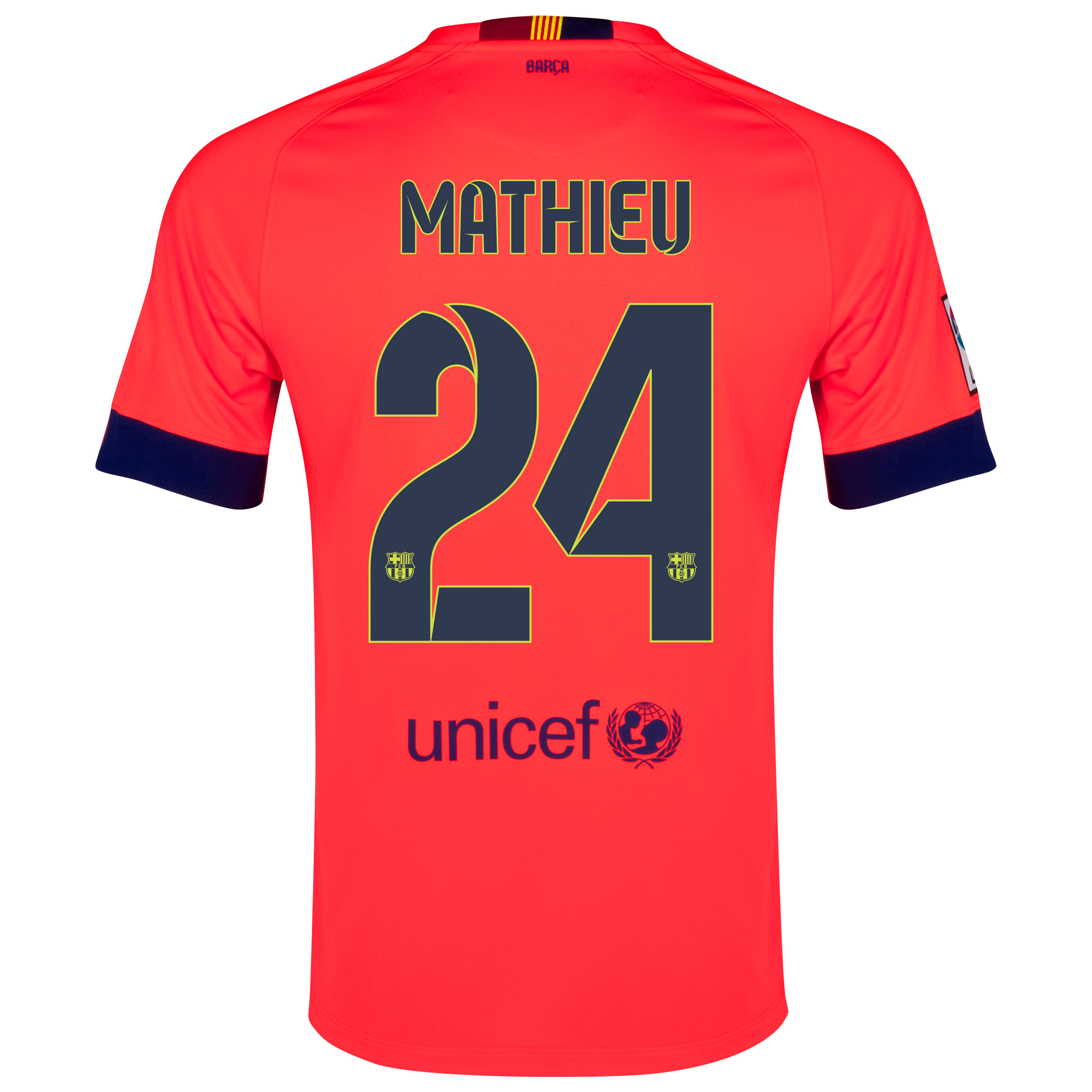 Barcelona Away Shirt 2014/15 - Kids Red with Mathieu 24 printing