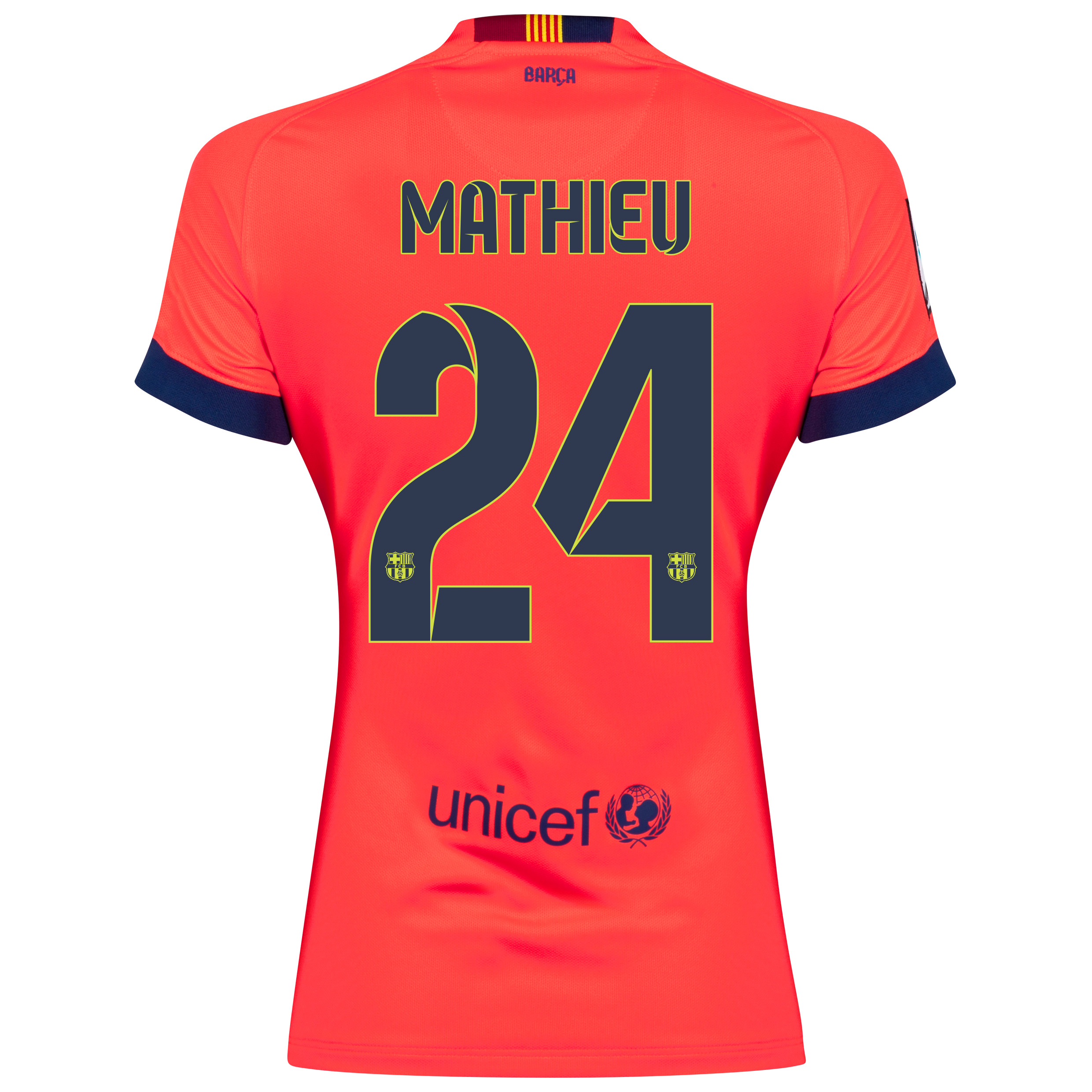 Barcelona Away Shirt 2014/15 - Womens Red with Mathieu 24 printing