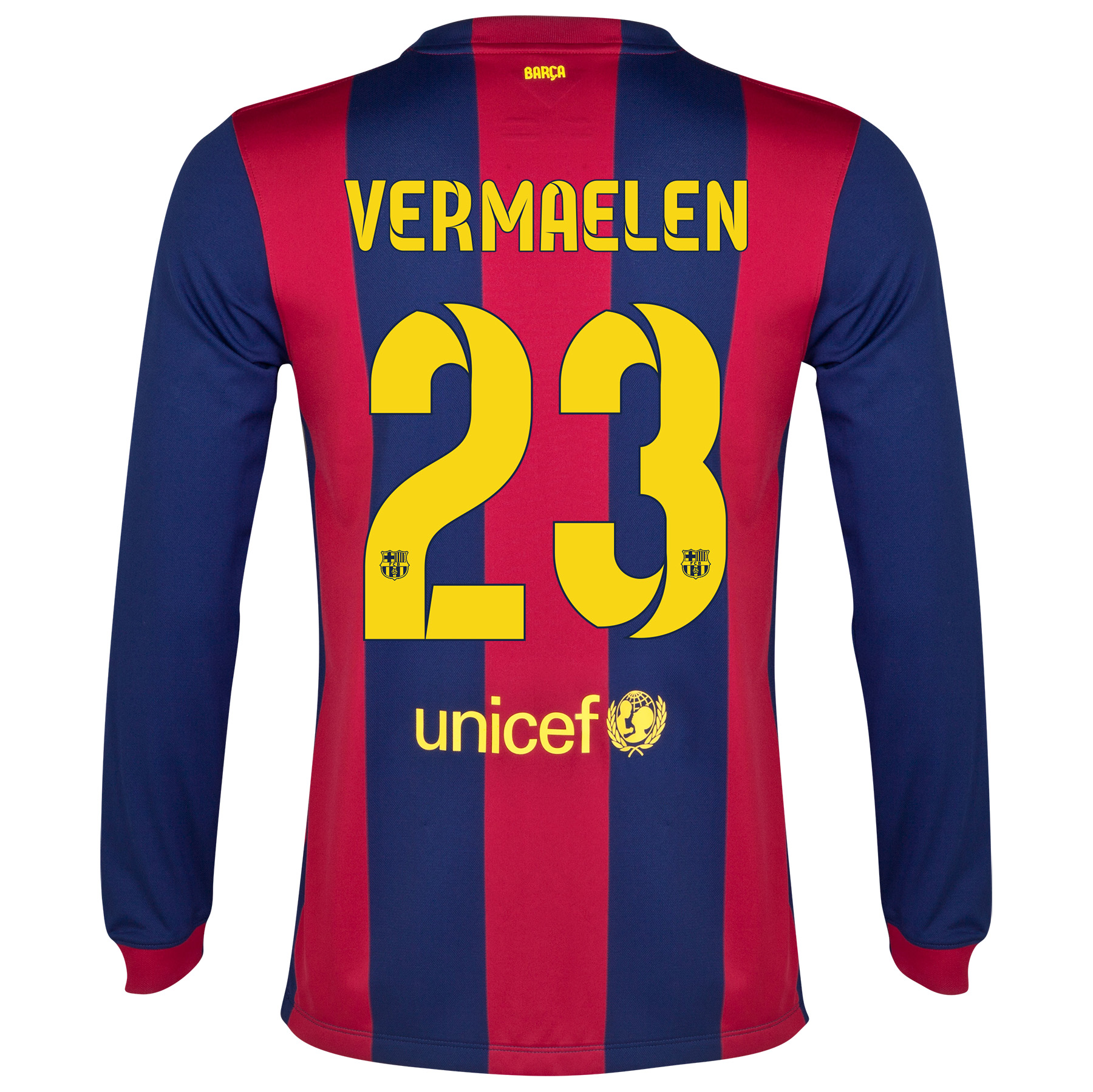 Barcelona Home Shirt 2014/15 - Long Sleeve Blue with Vermaelen 23 printing