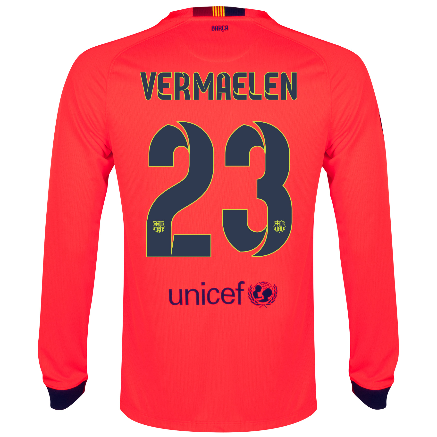 Barcelona Away Shirt 2014/15 - Long Sleeve Red with Vermaelen 23 printing