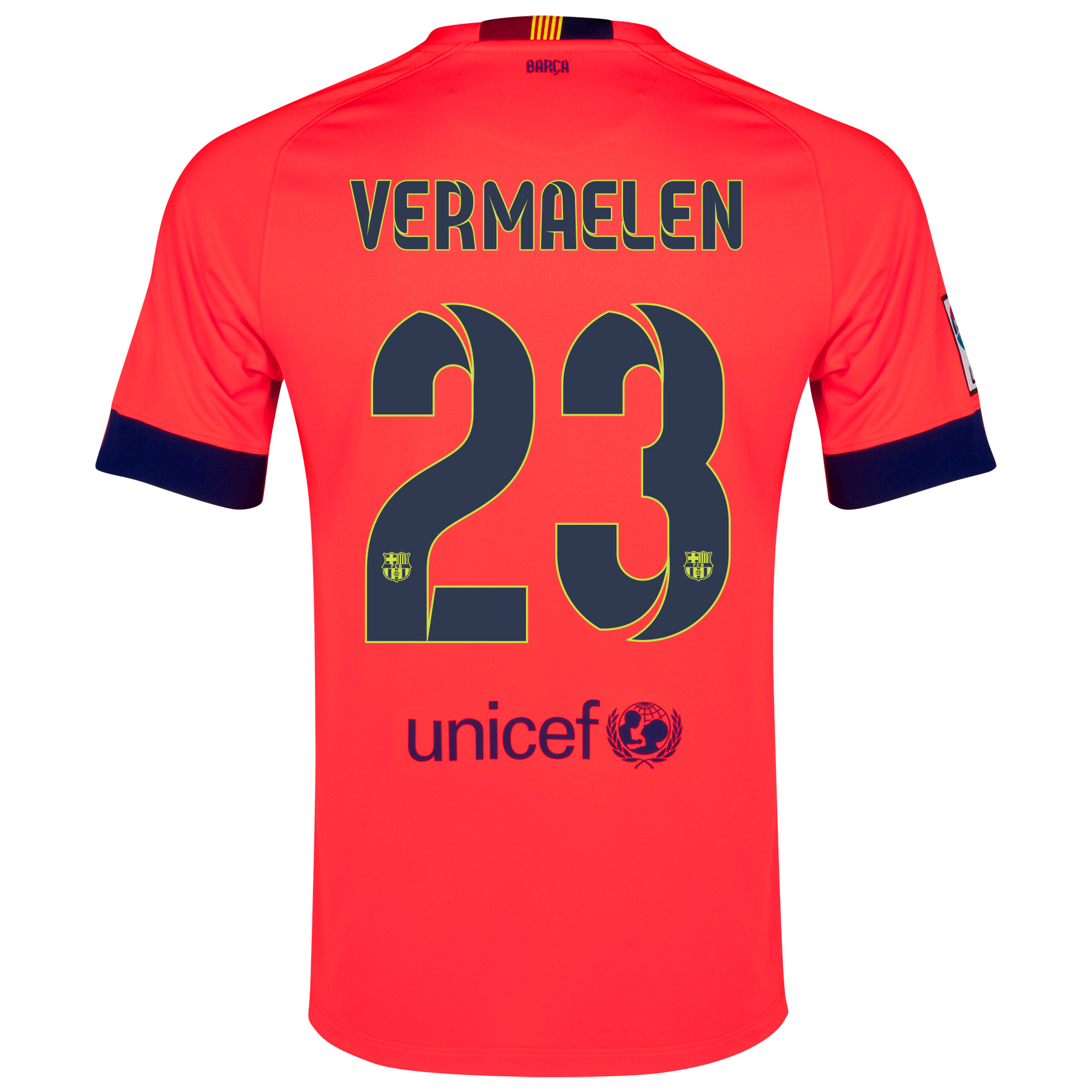 Barcelona Away Shirt 2014/15 - Kids Red with Vermaelen 23 printing