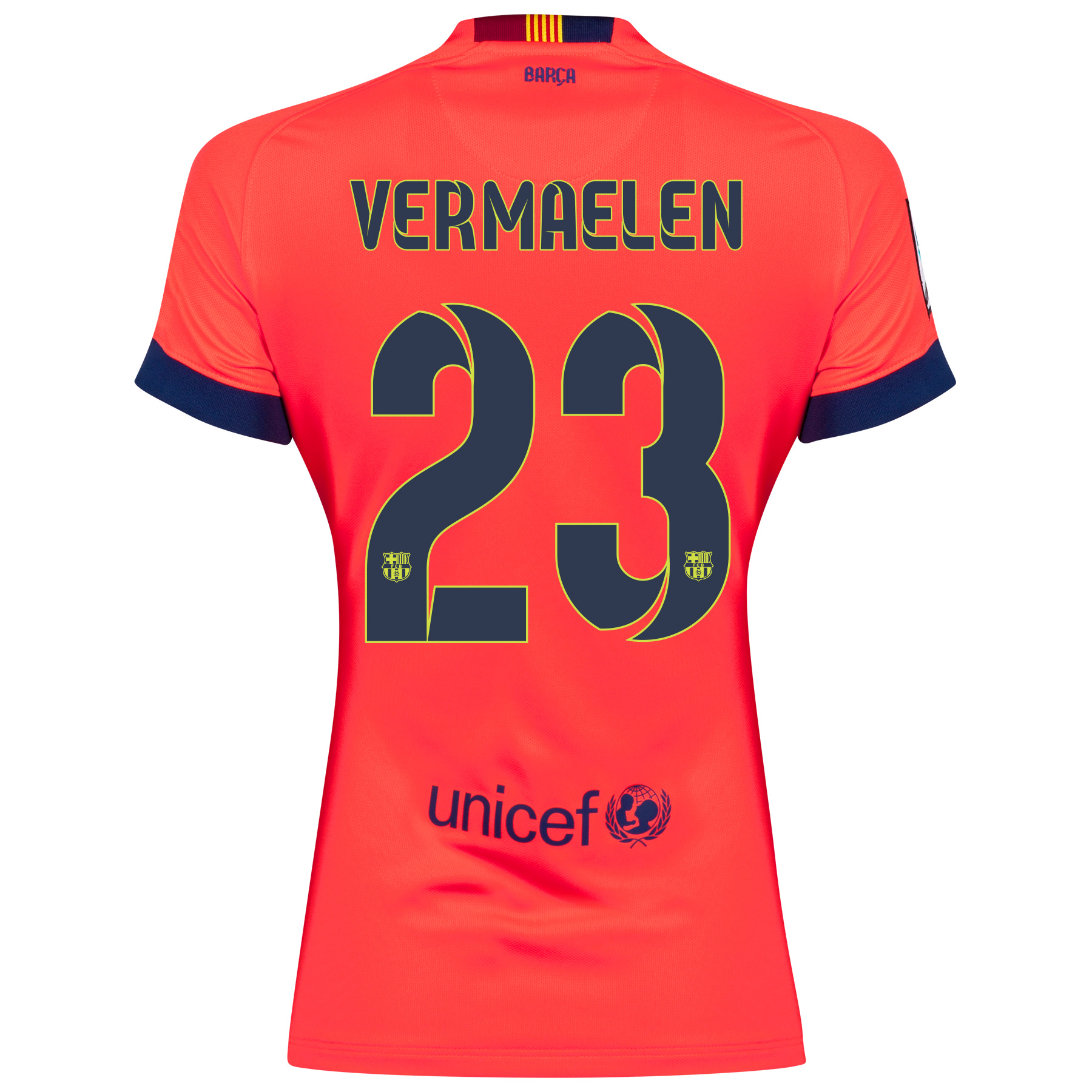 Barcelona Away Shirt 2014/15 - Womens Red with Vermaelen 23 printing