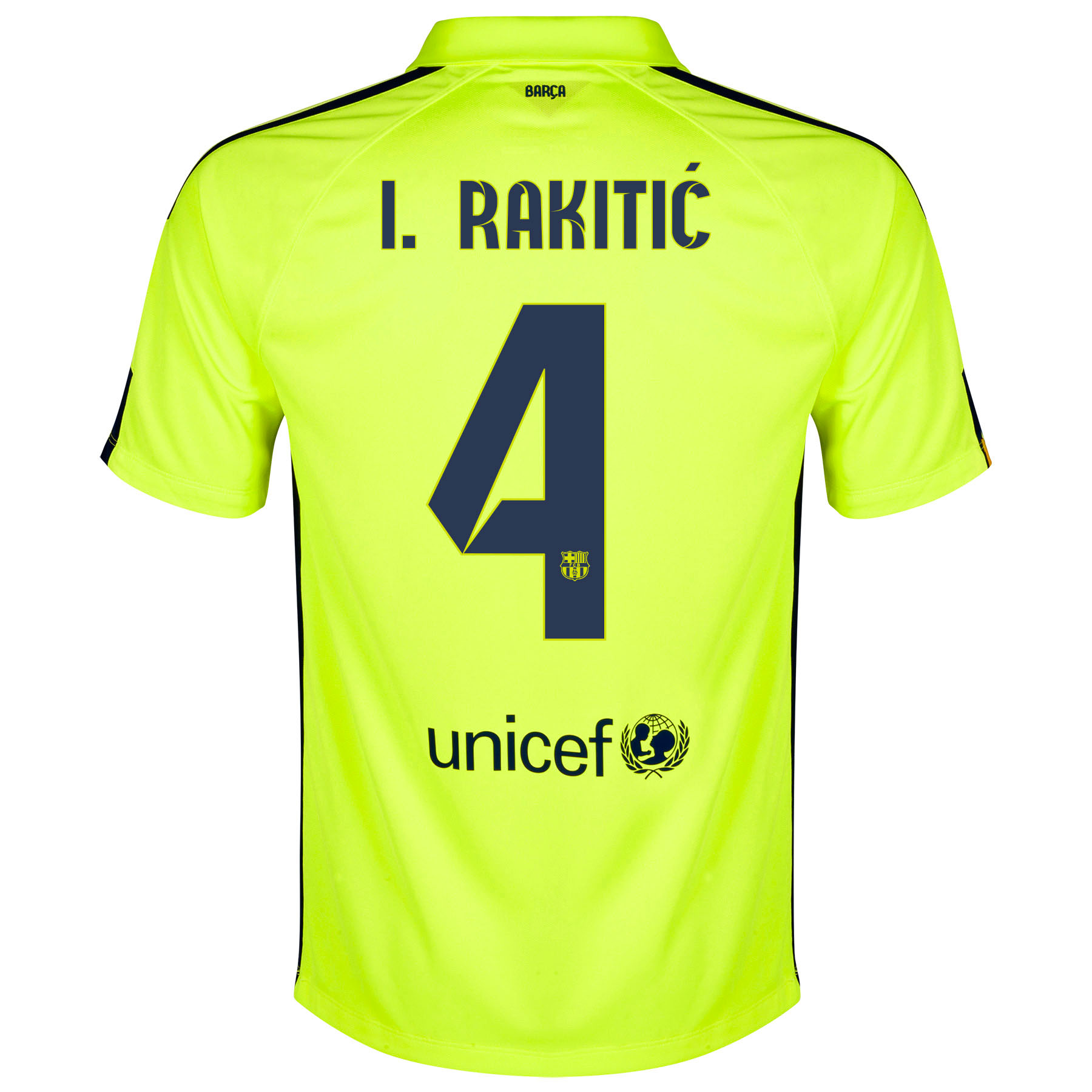 Barcelona Third Shirt 2014/15 Yellow with Rakitic 4 printing