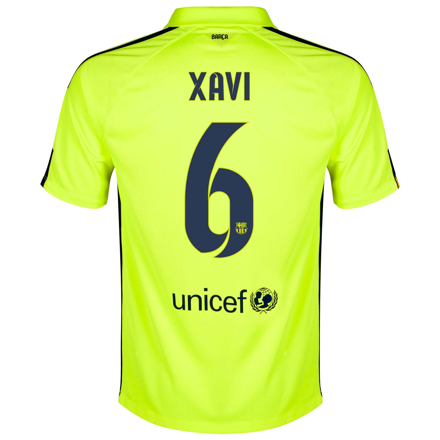 Barcelona Third Shirt 2014/15 Yellow with Xavi 6 printing