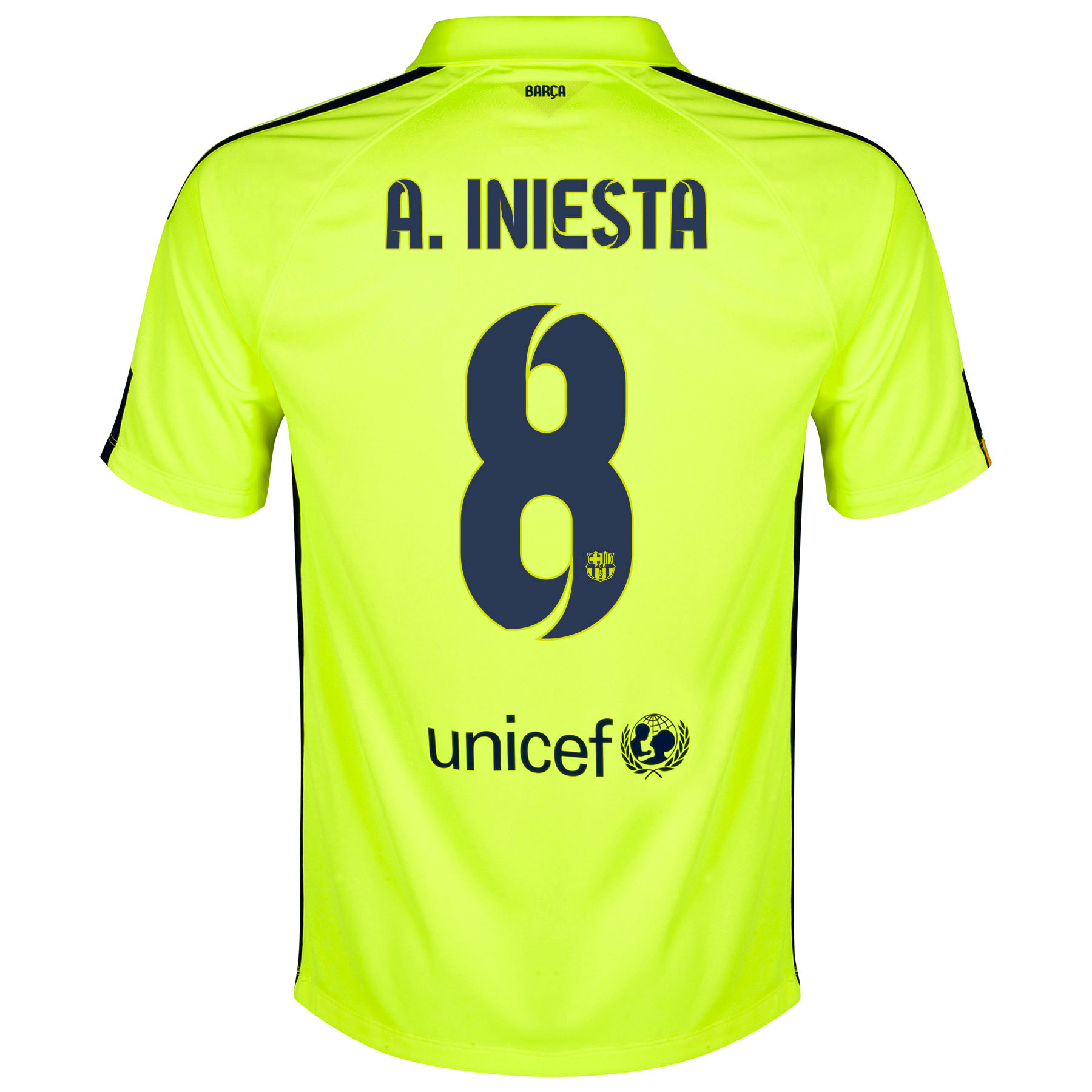 Barcelona Third Shirt 2014/15 Yellow with A. Iniesta  8 printing