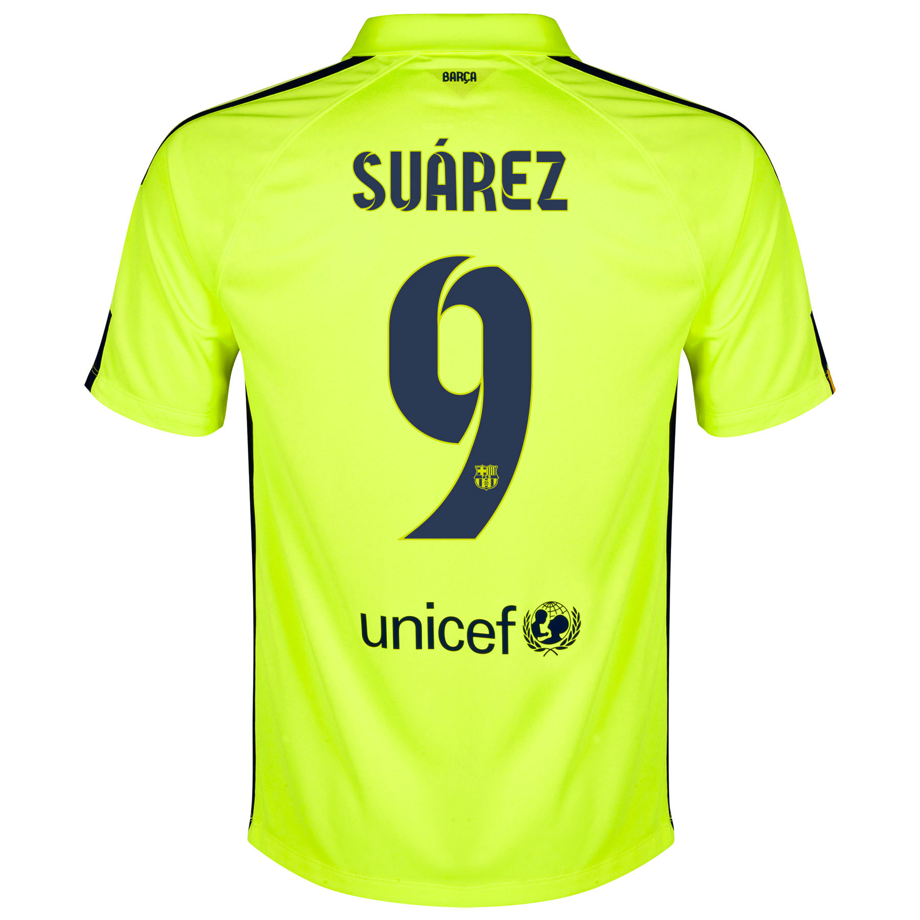 Barcelona Third Shirt 2014/15 Yellow with Suárez 9 printing