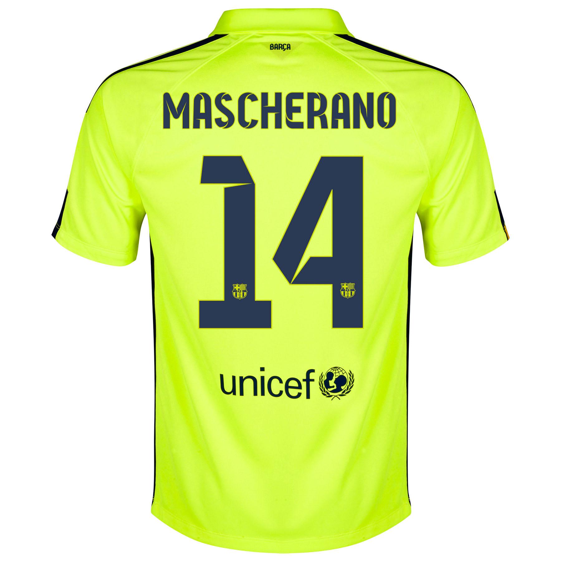 Barcelona Third Shirt 2014/15 Yellow with Mascherano 14 printing