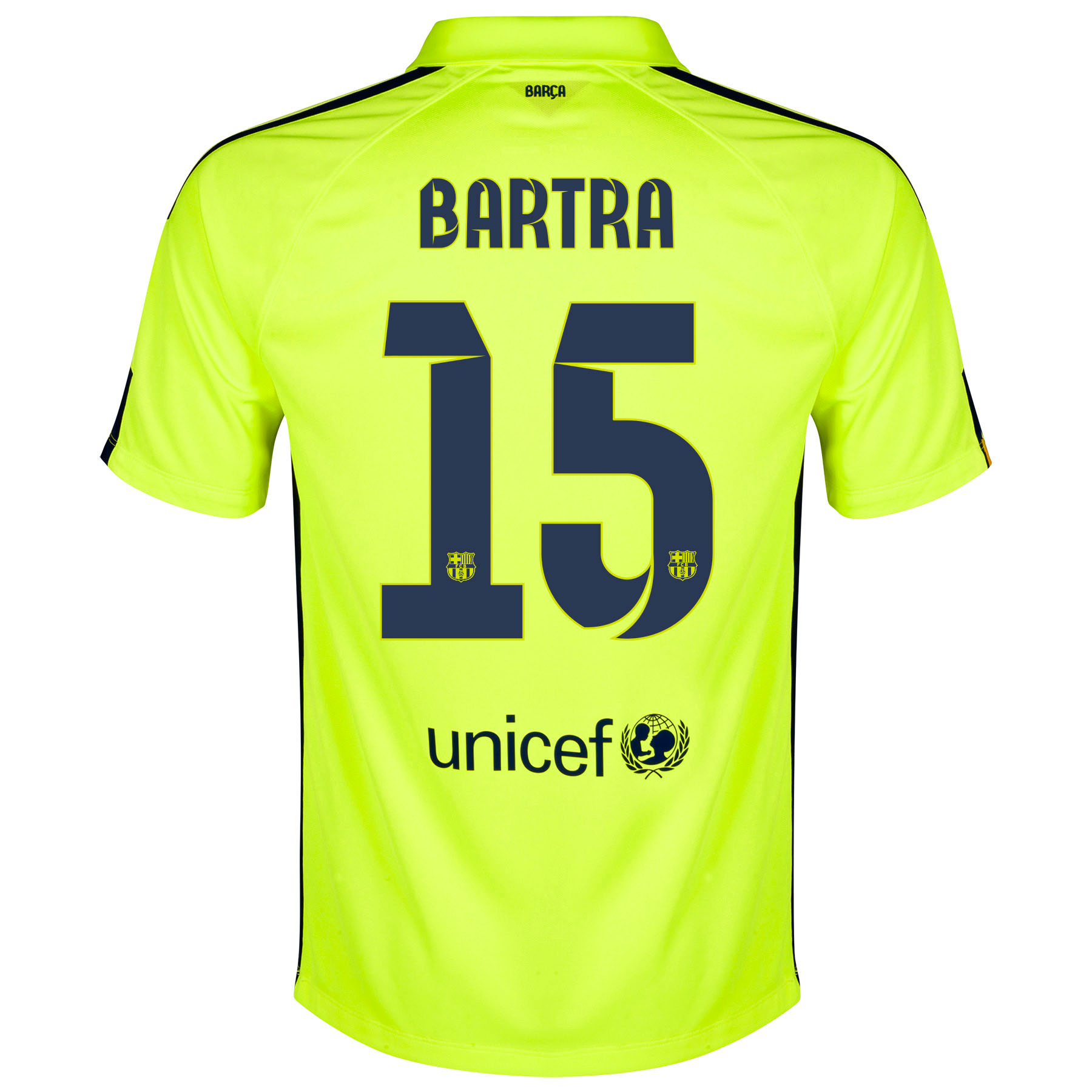Barcelona Third Shirt 2014/15 Yellow with Bartra 15 printing