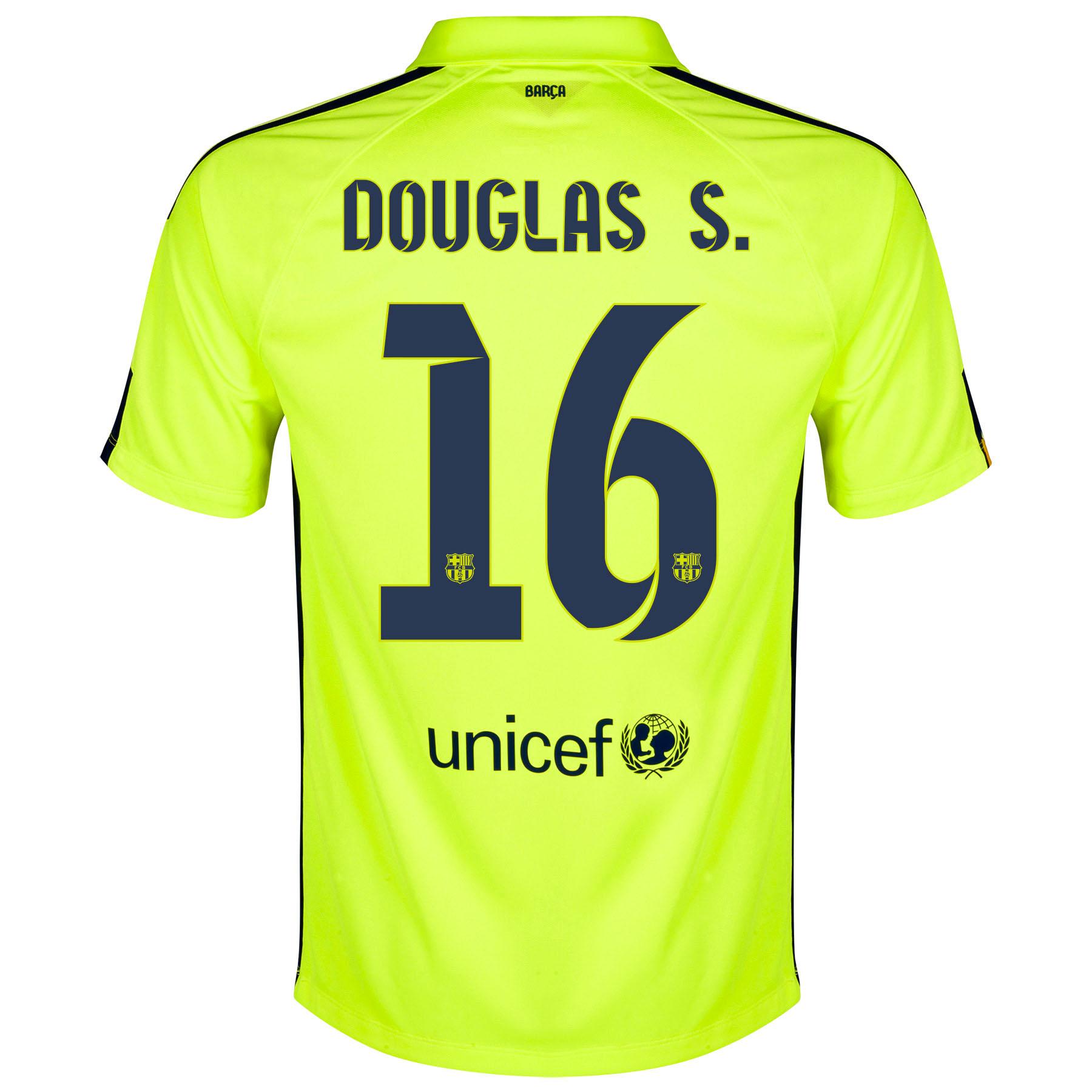 Barcelona Third Shirt 2014/15 Yellow with Douglas S. 16 printing