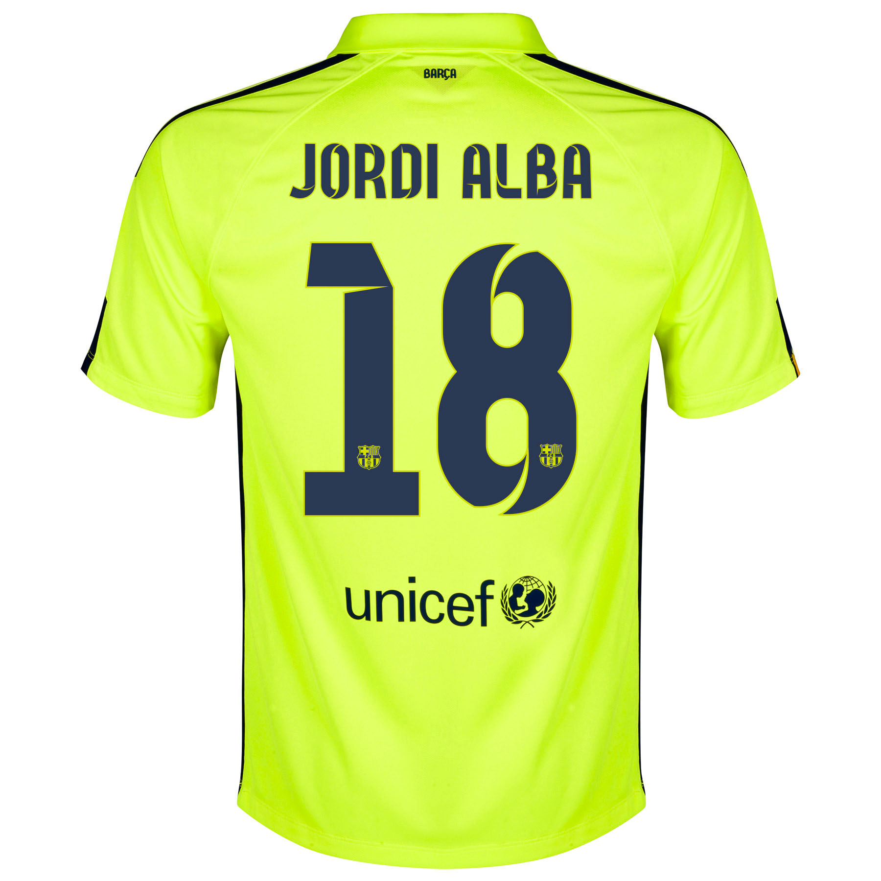 Barcelona Third Shirt 2014/15 Yellow with Jordi Alba 18 printing