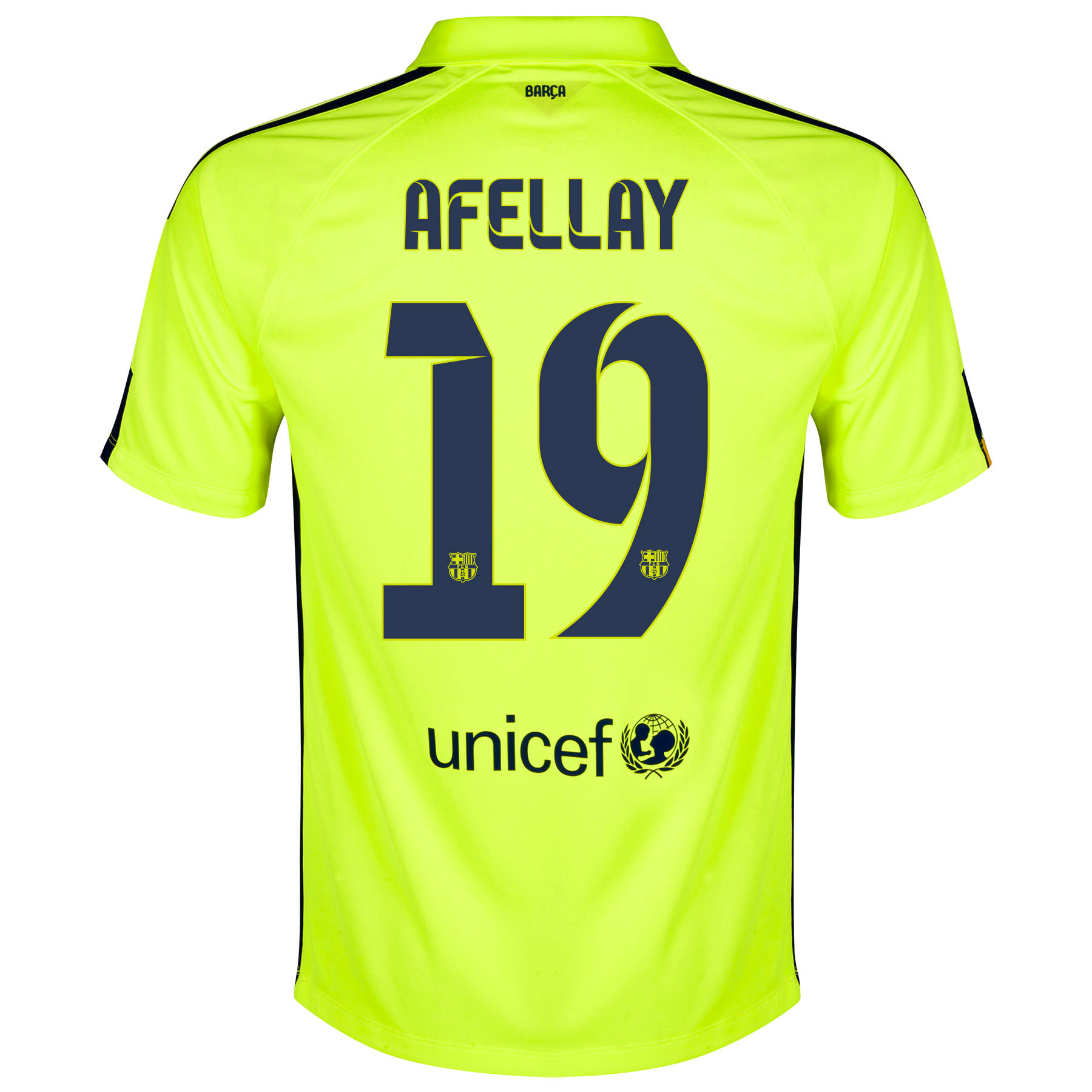 Barcelona Third Shirt 2014/15 Yellow with Afellay 19 printing