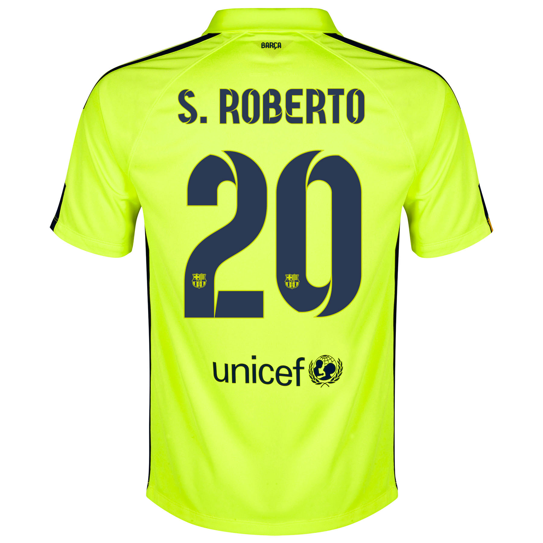 Barcelona Third Shirt 2014/15 Yellow with S.Roberto 20 printing