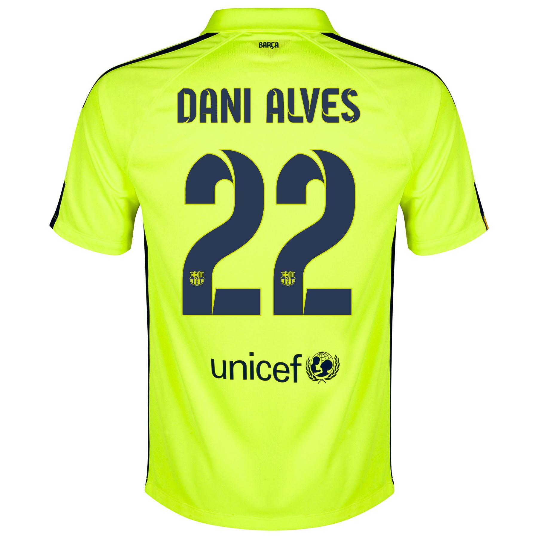 Barcelona Third Shirt 2014/15 Yellow with Dani Alves 22 printing