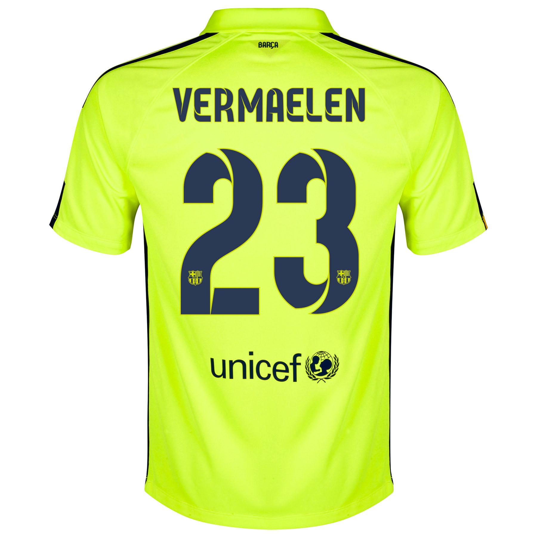 Barcelona Third Shirt 2014/15 Yellow with Vermaelen 23 printing