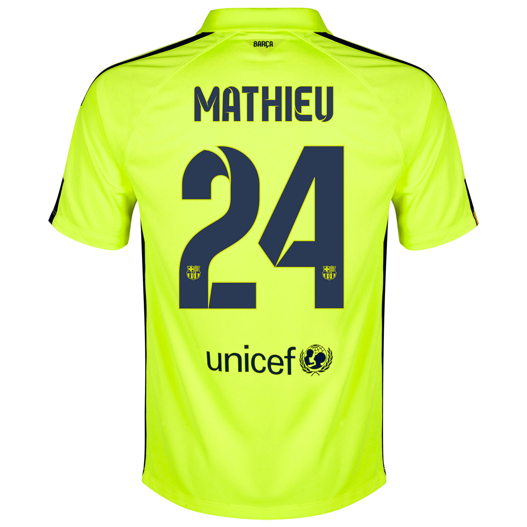 Barcelona Third Shirt 2014/15 Yellow with Mathieu 24 printing