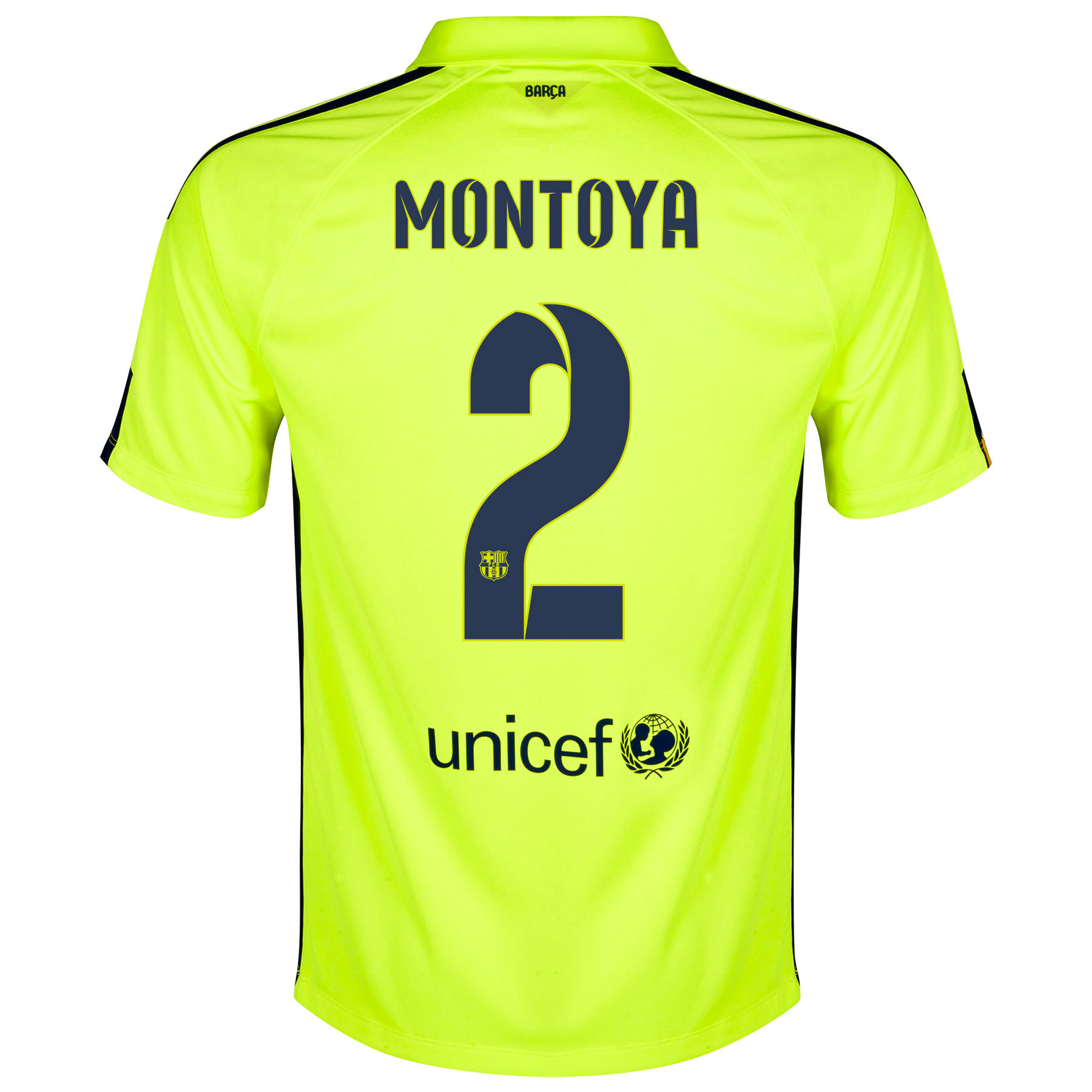 Barcelona Third Shirt 2014/15 - Kids Yellow with Montoya 2 printing