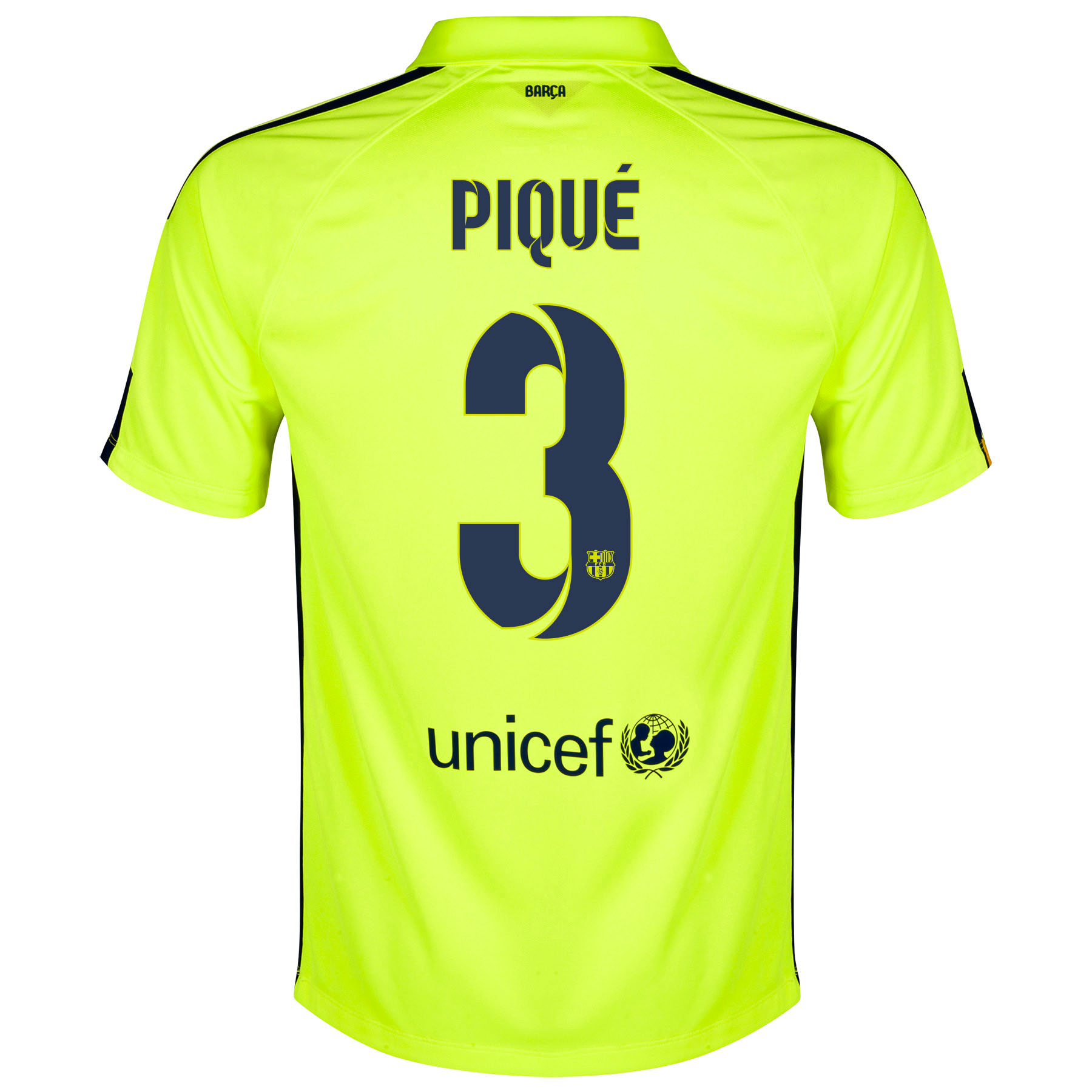 Barcelona Third Shirt 2014/15 - Kids Yellow with Pique 3 printing