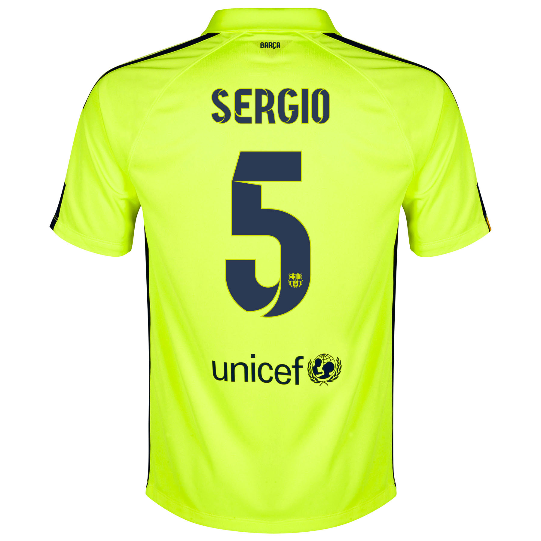 Barcelona Third Shirt 2014/15 - Kids Yellow with Sergio 5 printing