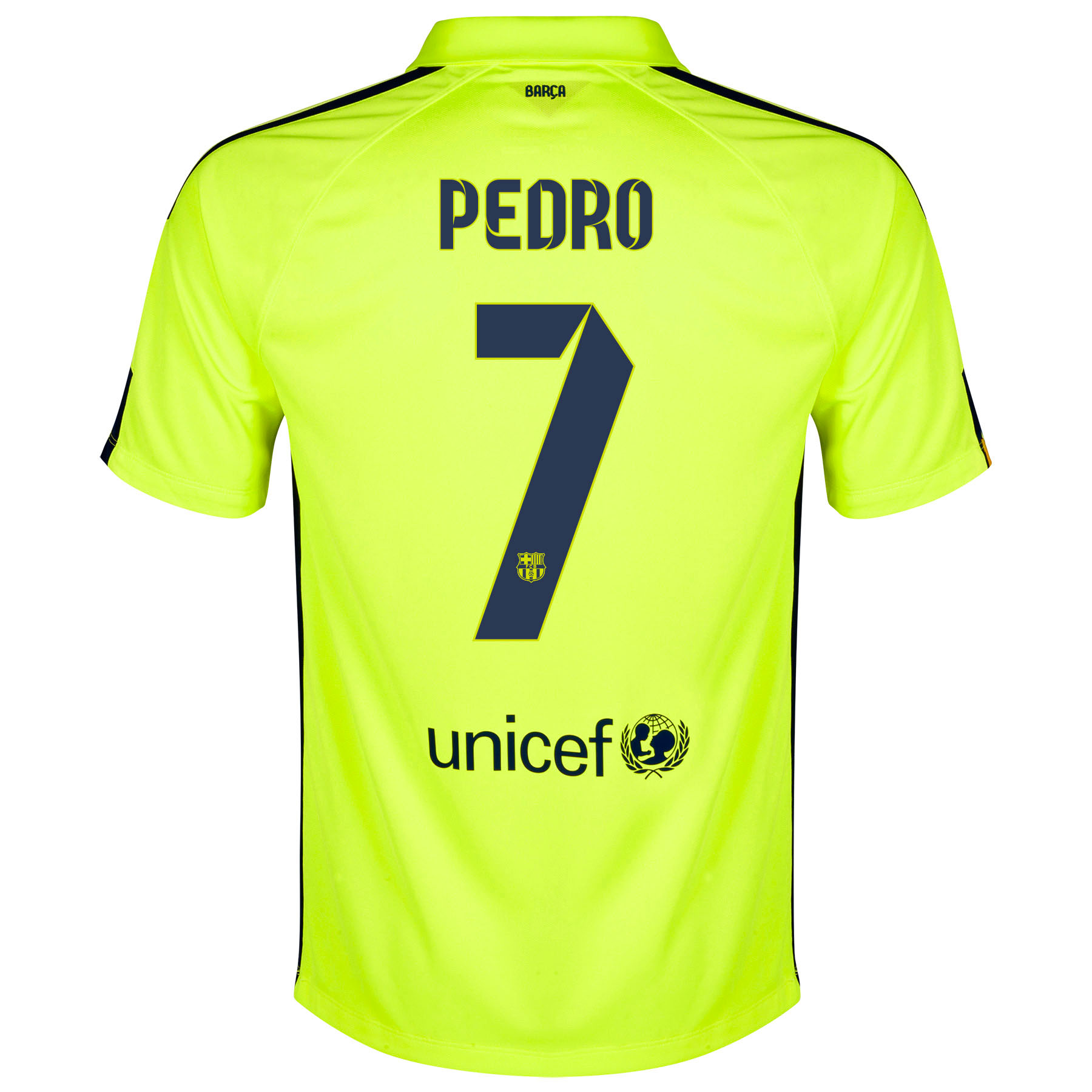 Barcelona Third Shirt 2014/15 - Kids Yellow with Pedro 7 printing