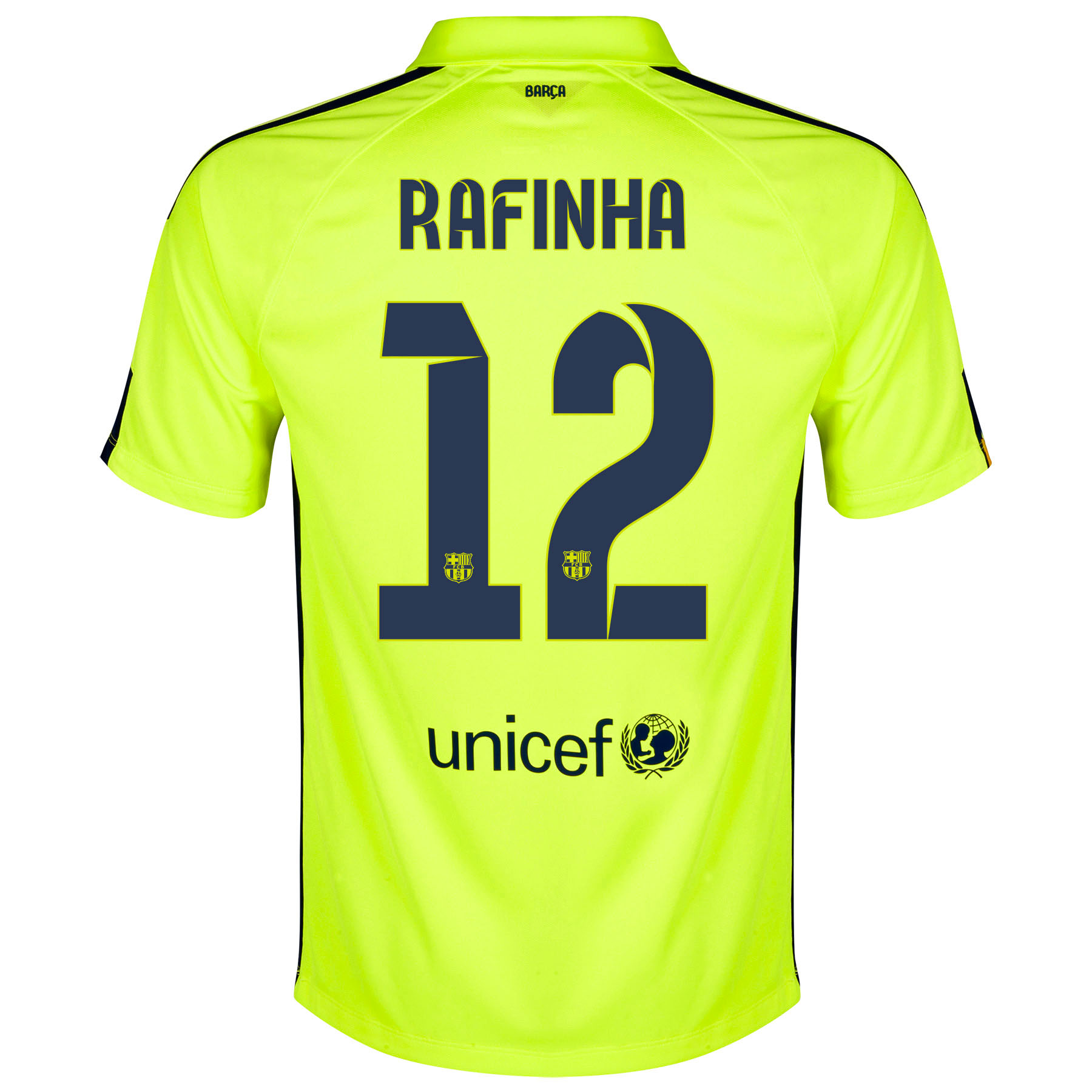 Barcelona Third Shirt 2014/15 - Kids Yellow with Rafinha 12 printing
