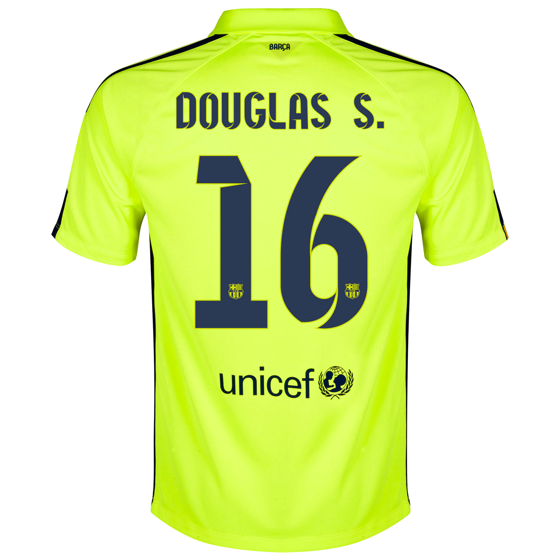 Barcelona Third Shirt 2014/15 - Kids Yellow with Douglas S. 16 printing